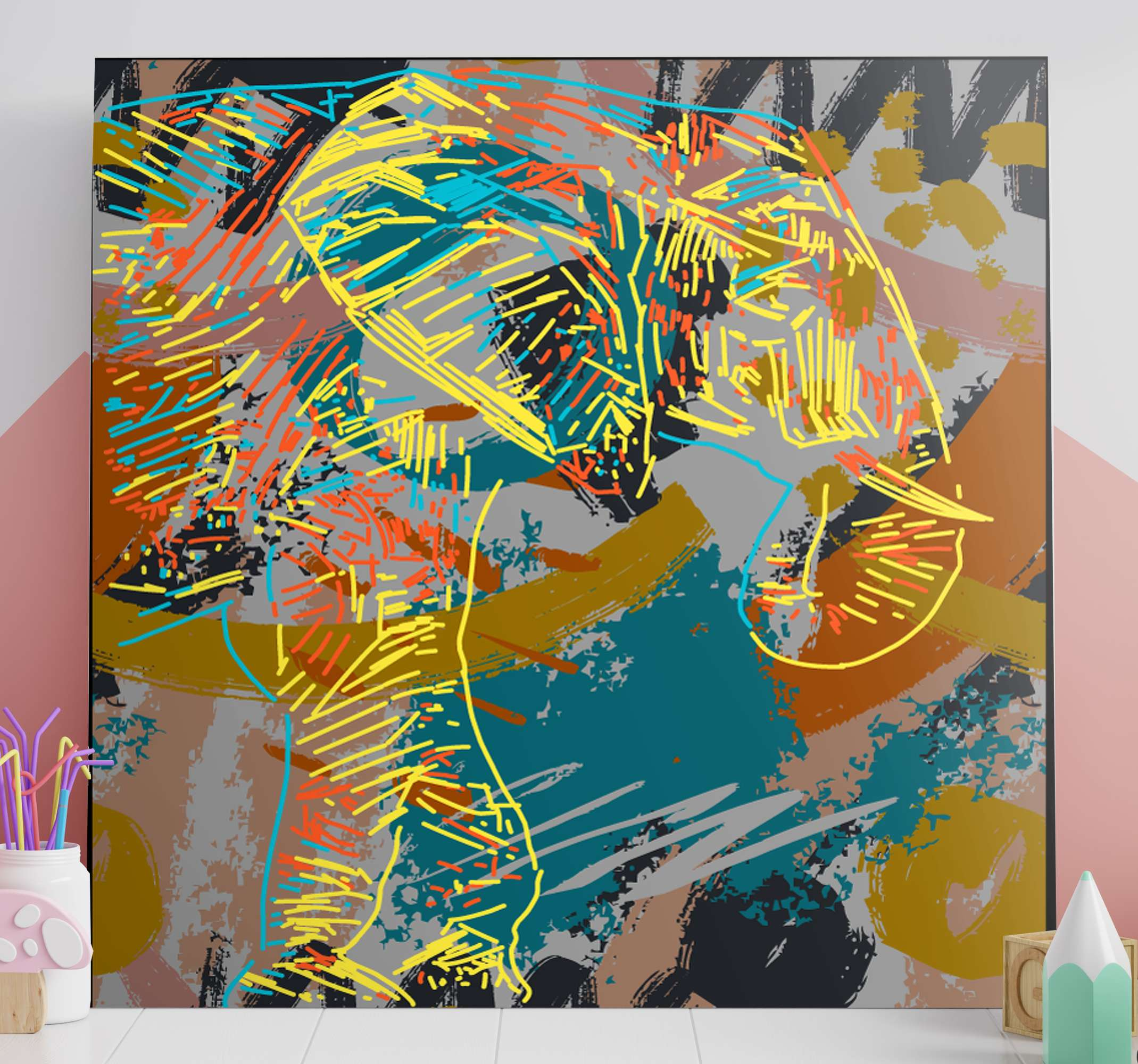 TenStickers. 3D elephants splash water elephant canvas art. Decorate your space representing your love for abstract art with this 3D elephants splash water canvas. It is original, durable and easy to hang.