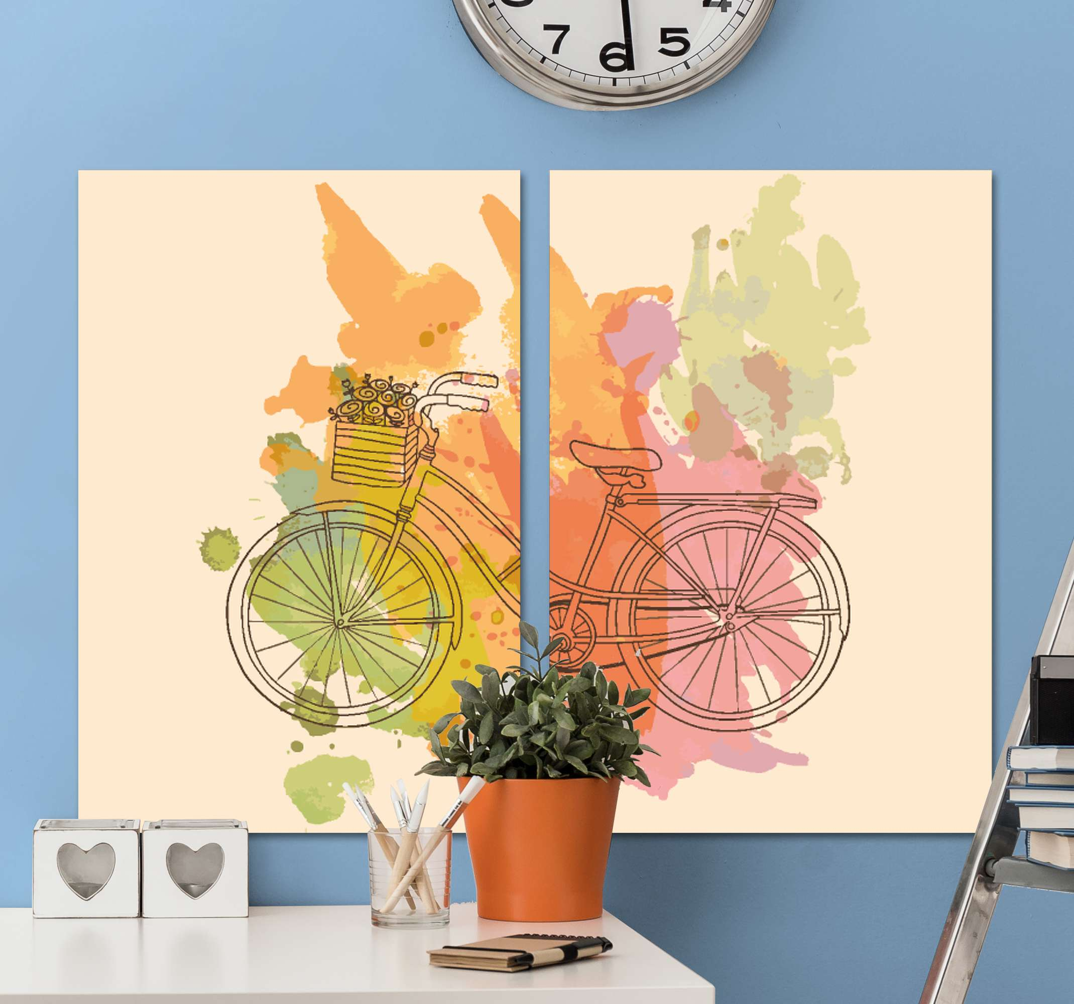 TenStickers. Vintage bicycle with flowers vintage wall prints. A bicycle with flowers retro canvas art. Perfect for any space in a house and for an office to add a vintage touch on a space.