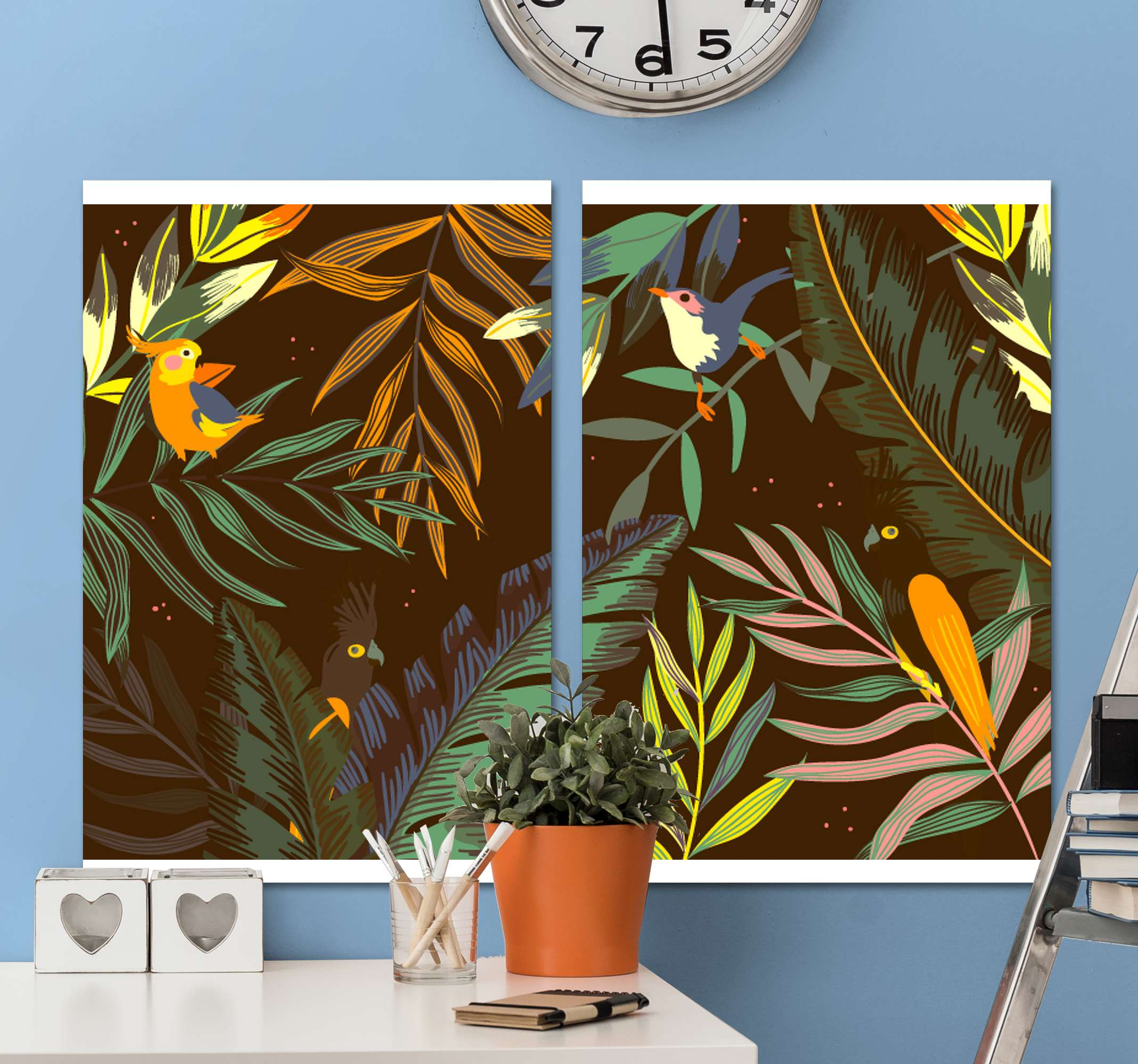 TenStickers. vintage style birds and flowers vintage wall prints. Your home will gain so much uniqueness and character with the addition of these three stunning leaf wall art canvases!  Home delivery!