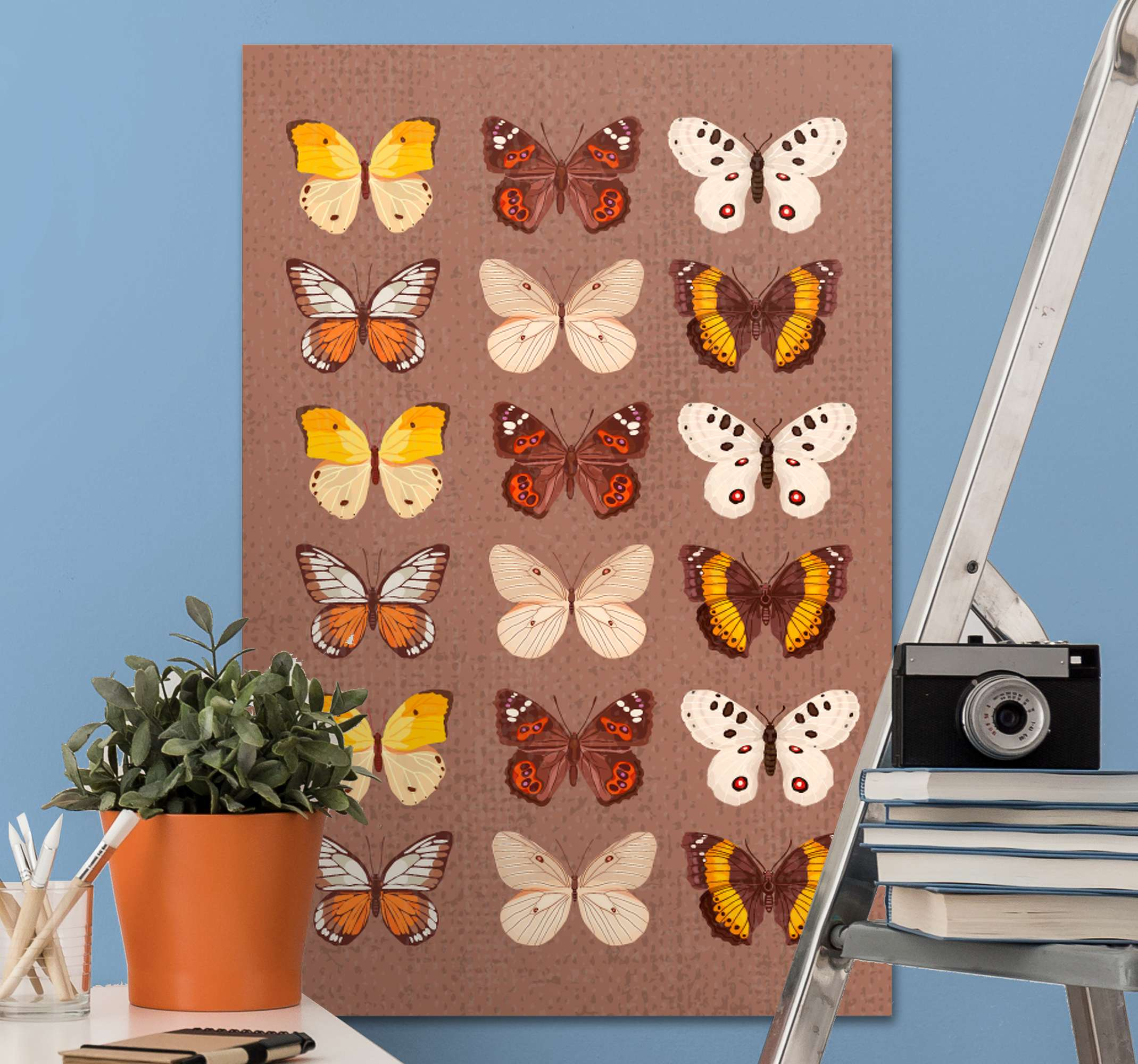 TenStickers. 老式的蝴蝶老式的壁画. 蝴蝶爱好者的老式蝴蝶图案画布艺术。适用于房屋中的任何空间以及办公室和商业场所。