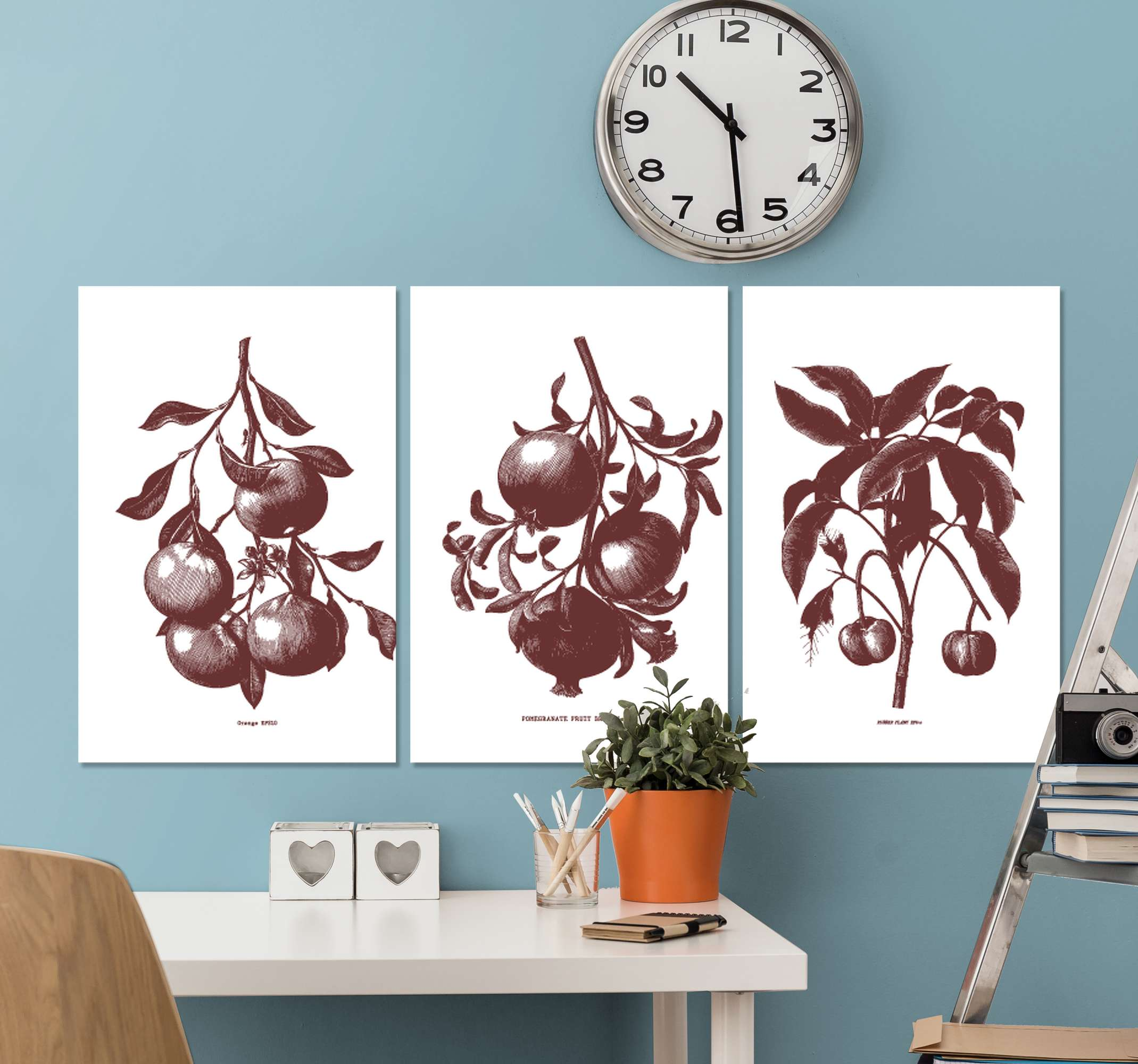 TenStickers. Triptych vintage vintage wall prints. Your home will definitely benefit from the addition of this wonderful tropical floral canvas wall art. Order now! Home  delivery !