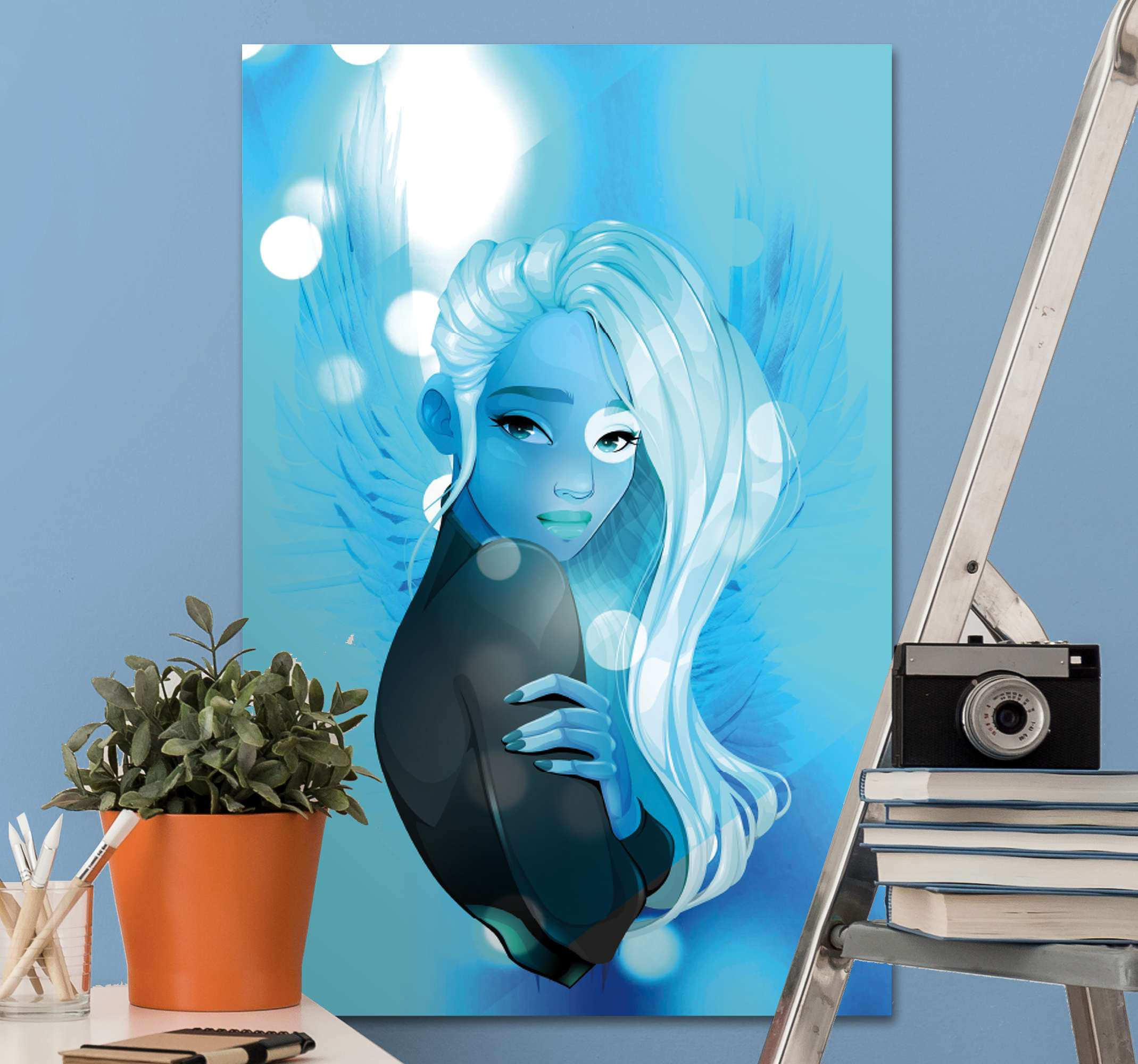 TenStickers. The Mind of an Elder canvas art. Canvas art print with the design of a beautiful blue woman with white hair on a blue background with flashes of lights, perfect to decorate your home.