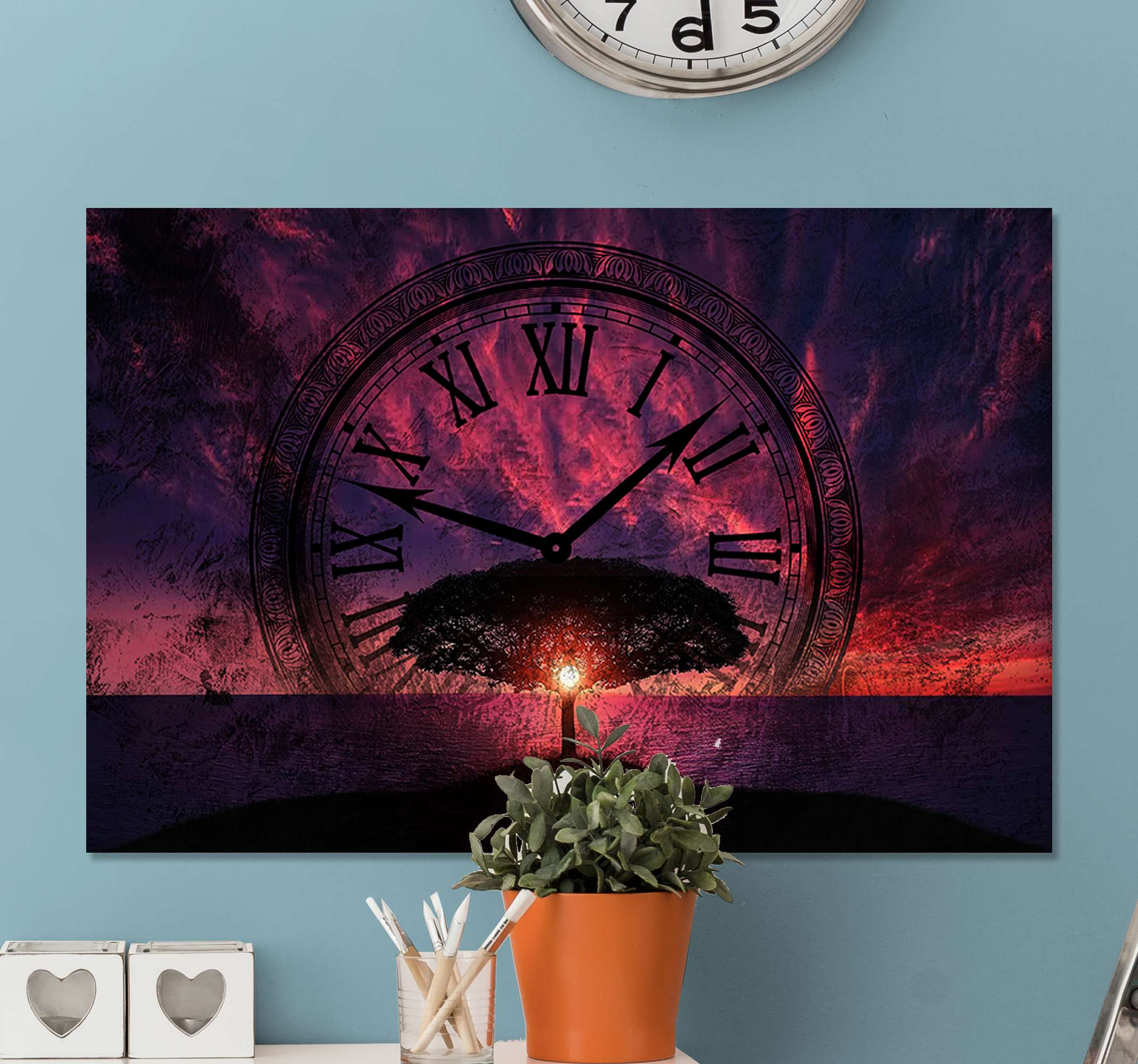 TenStickers. Inevitable time flow canvas art. Beautiful canvas artwork  print with design of a landscape at sundown with a large clock. You can decorate any space with this canvas art.