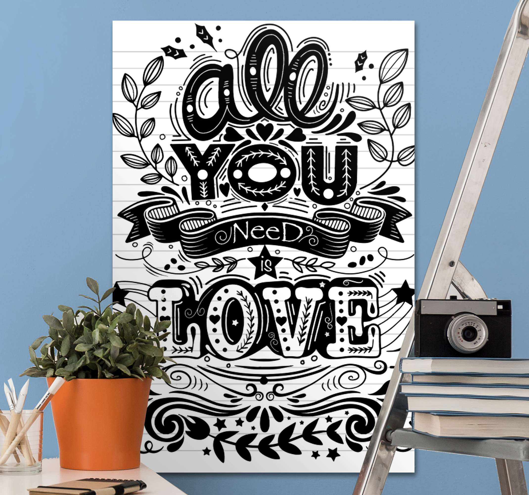 TenStickers. Love phrase inspirational canvas print. All you need is love canvas art from our collection of motivation quote canvas print. It text design is styled in a fun and interesting art pattern.