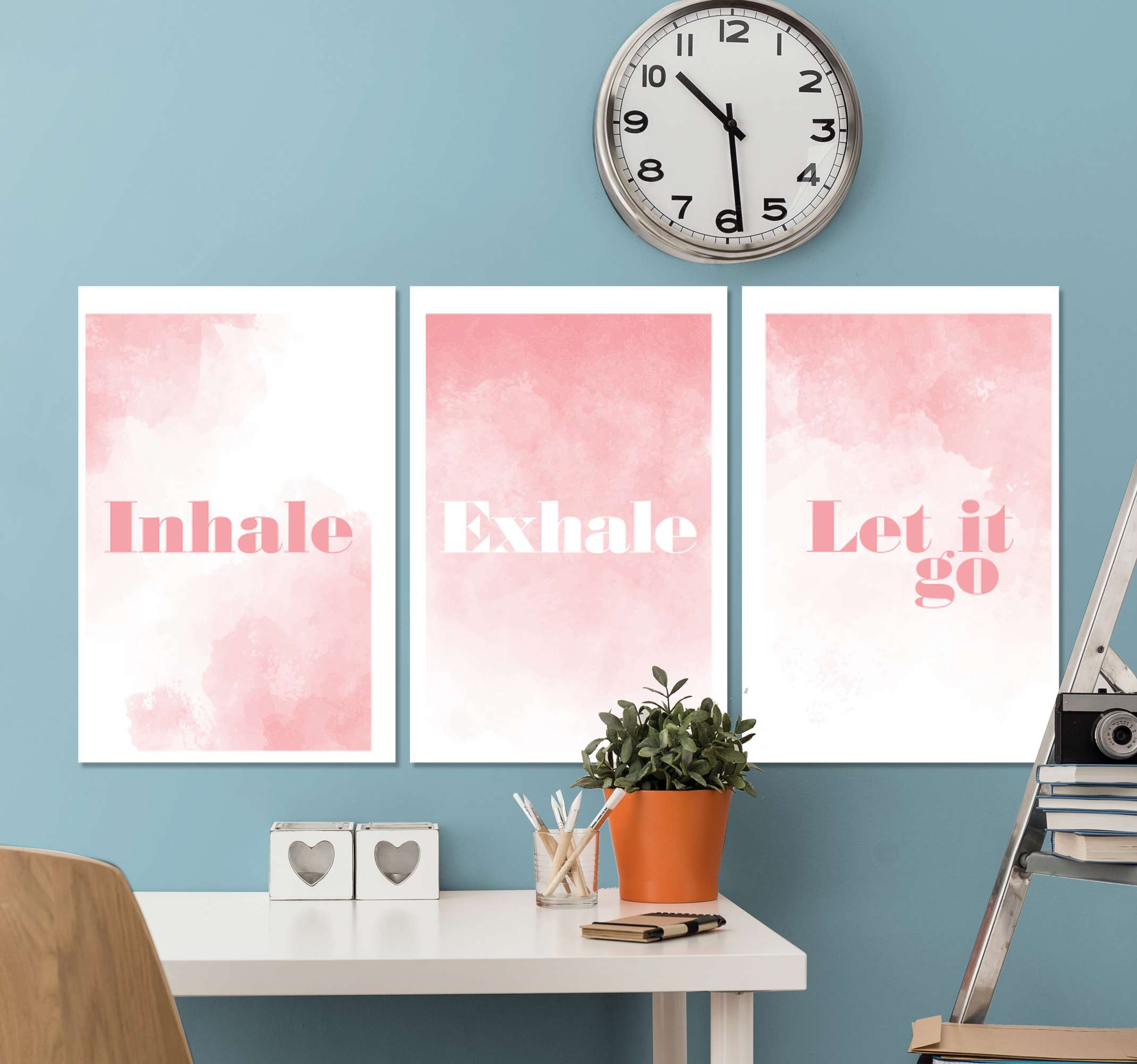 TenStickers. Bathroom with phrase wall art canvas. Zen theme canvas wall art -  A three home canvas art print with beautiful background texture inscribed with different text .