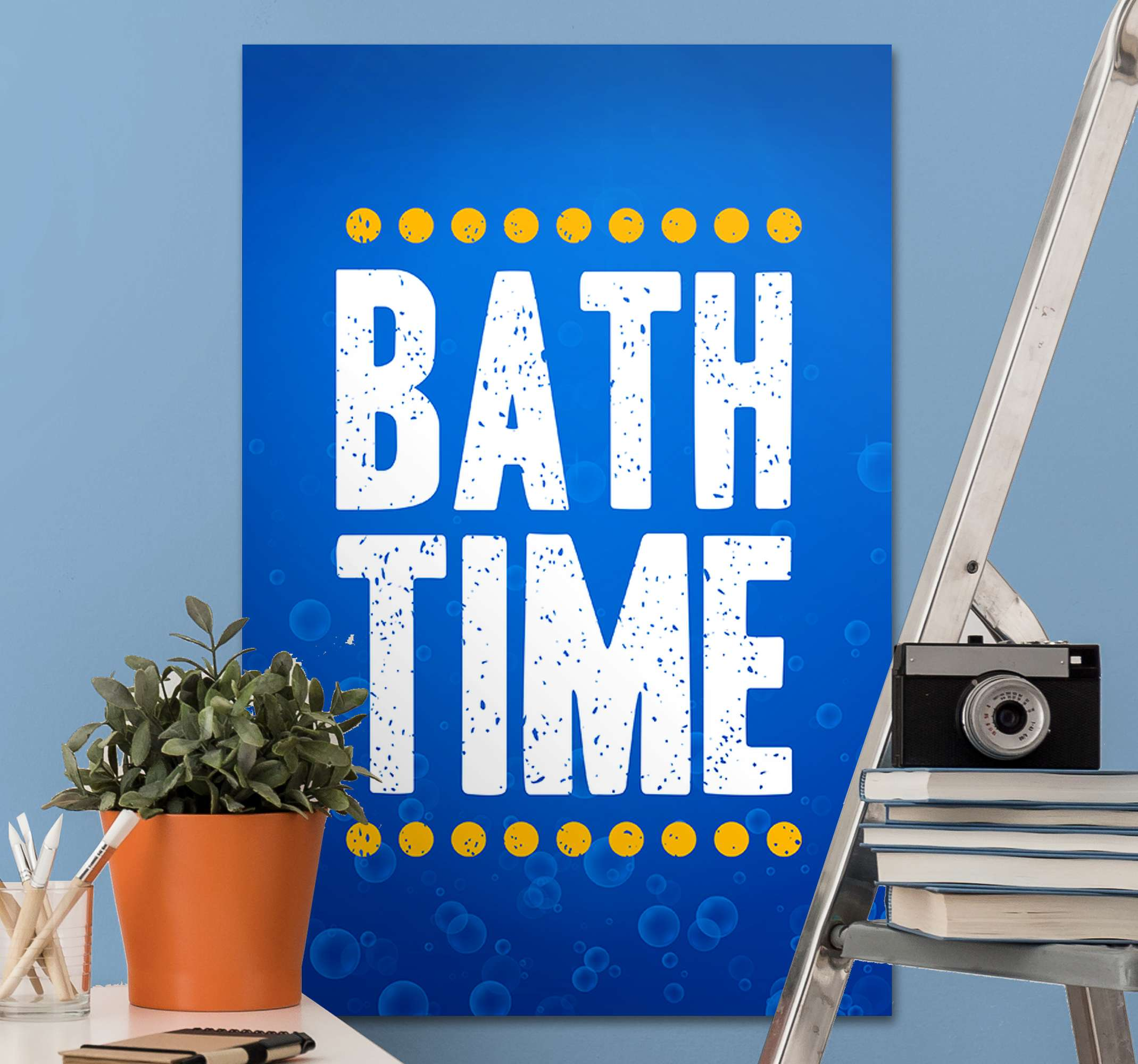 TenStickers. Bath time Bathroom wall art canvas. Beautiful blue canvas art for bathroom. It design is a text that reads ''Bath time'. Suitable bathroom canvas art for hotels and  home bathroom.