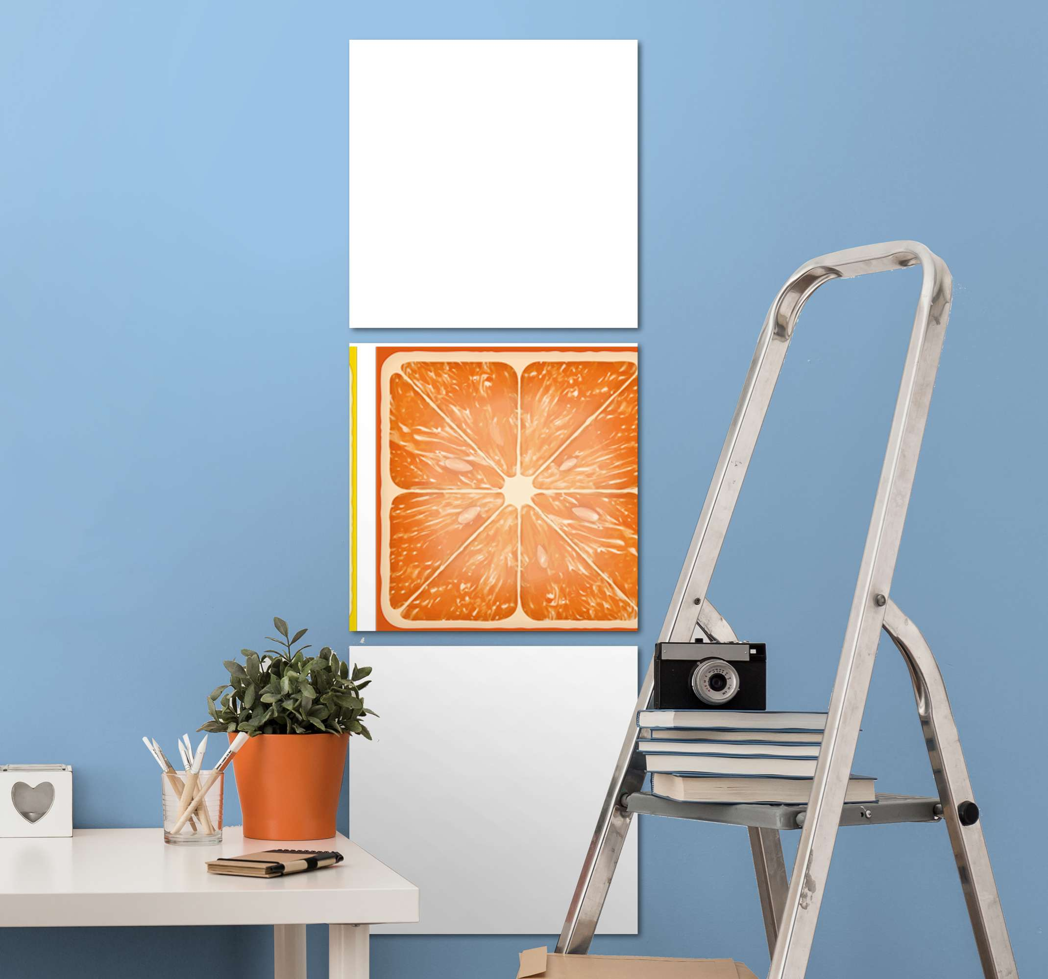 TenStickers. Colorful citrus texture  fruit canvas art. Different canvas with sliced citrus fruit illustration. The designed canvas appears realistic and you would love it. Printed in quality finish.