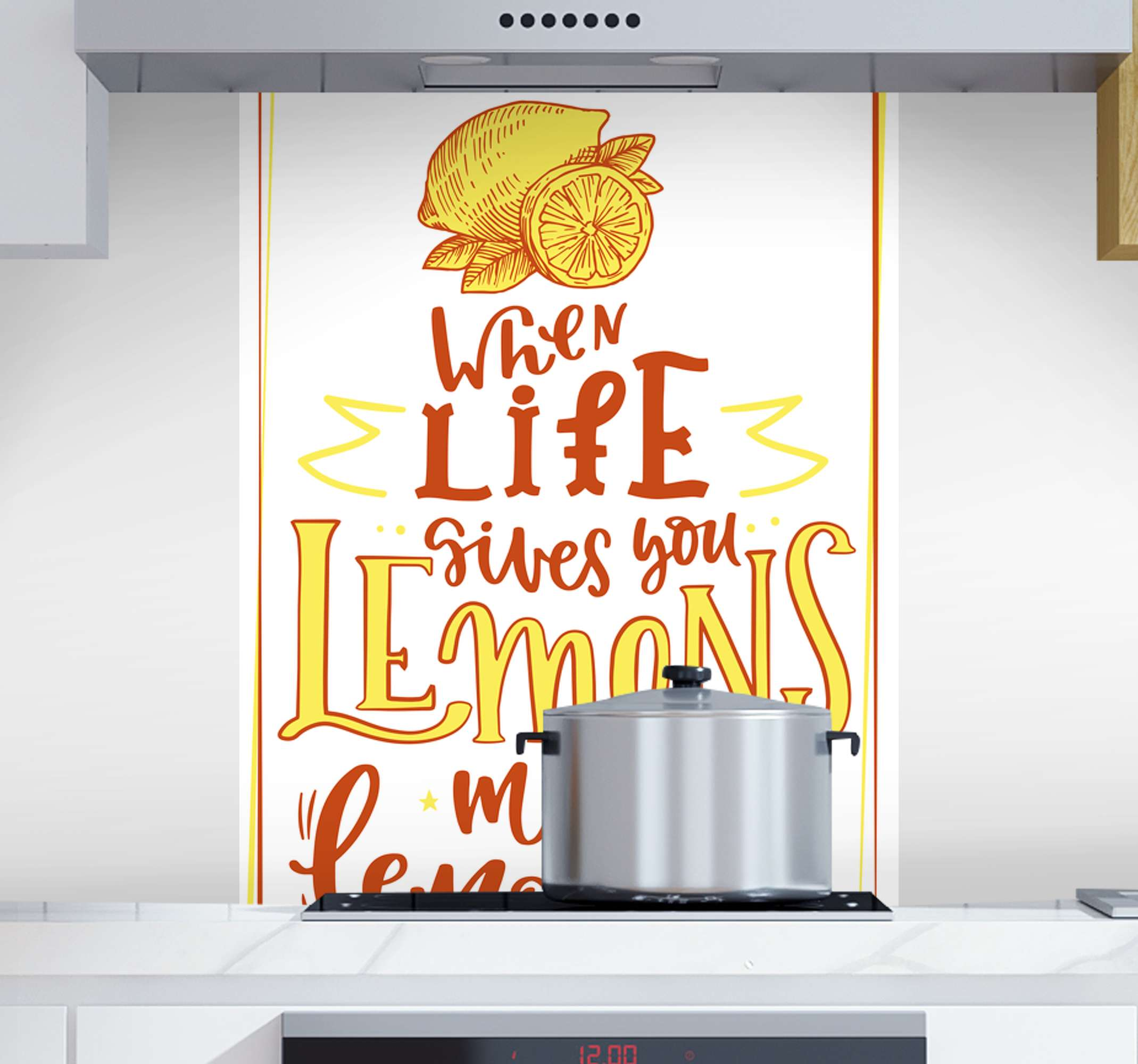 TenStickers. Lemon sketch quote fruit canvas art. A canvas art print with lemon quote. It is beautifully inscribed with stylish mix coloured text that reads 'When life gives you lemon make lemonade'.