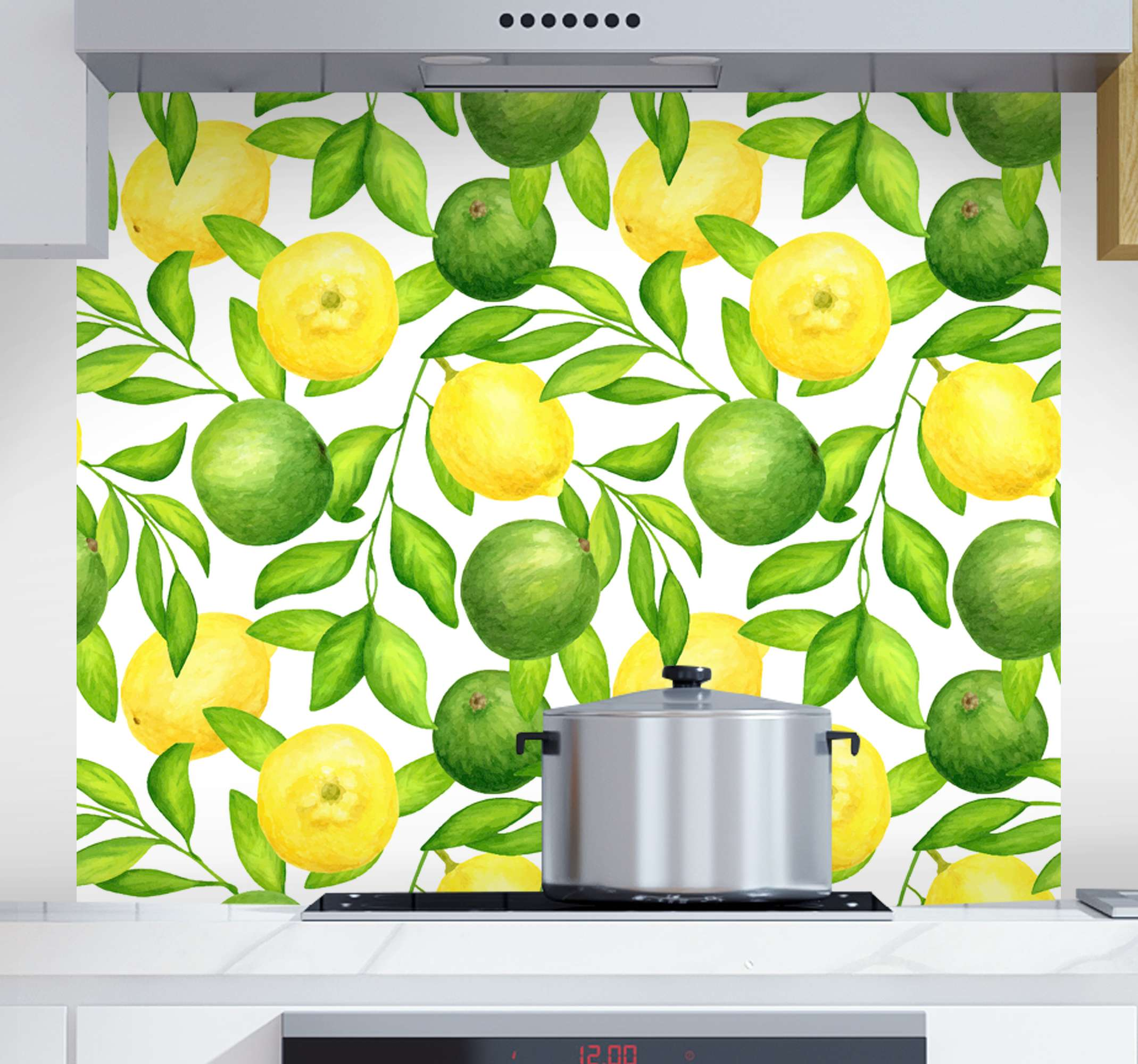 TenStickers. Lemons and Limes fruit canvas art. Lemons and Limes fruit canvas art - Amazing citrus fruit canvas print with leaves and stalk from tree. It is original, durable nd easy to hang.