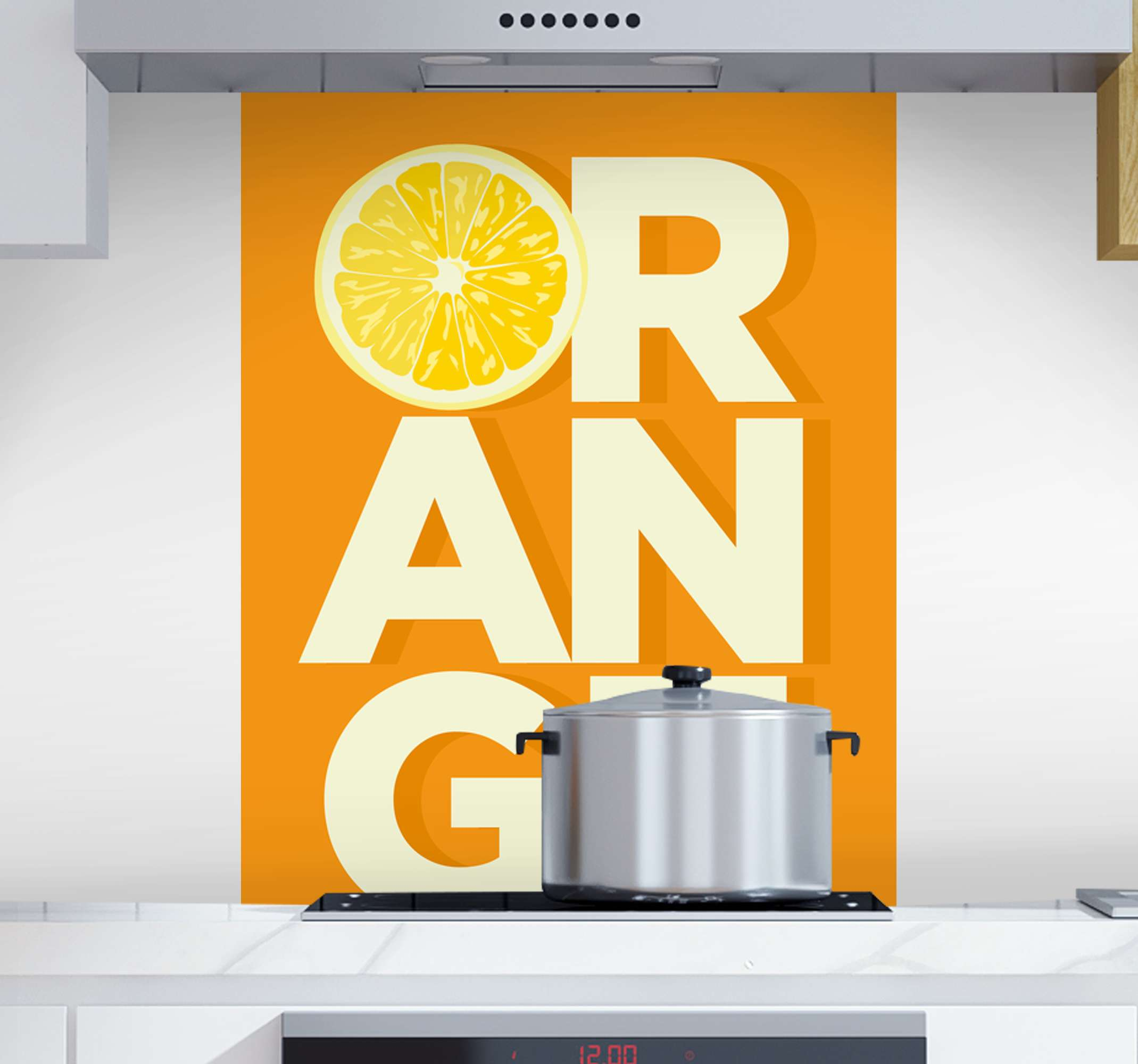 TenStickers. Sliced orange text fruit canvas art. An orange background with text canvas for your home decoration. If you need a simple canvas art with an orange fruit illustration then this is it.