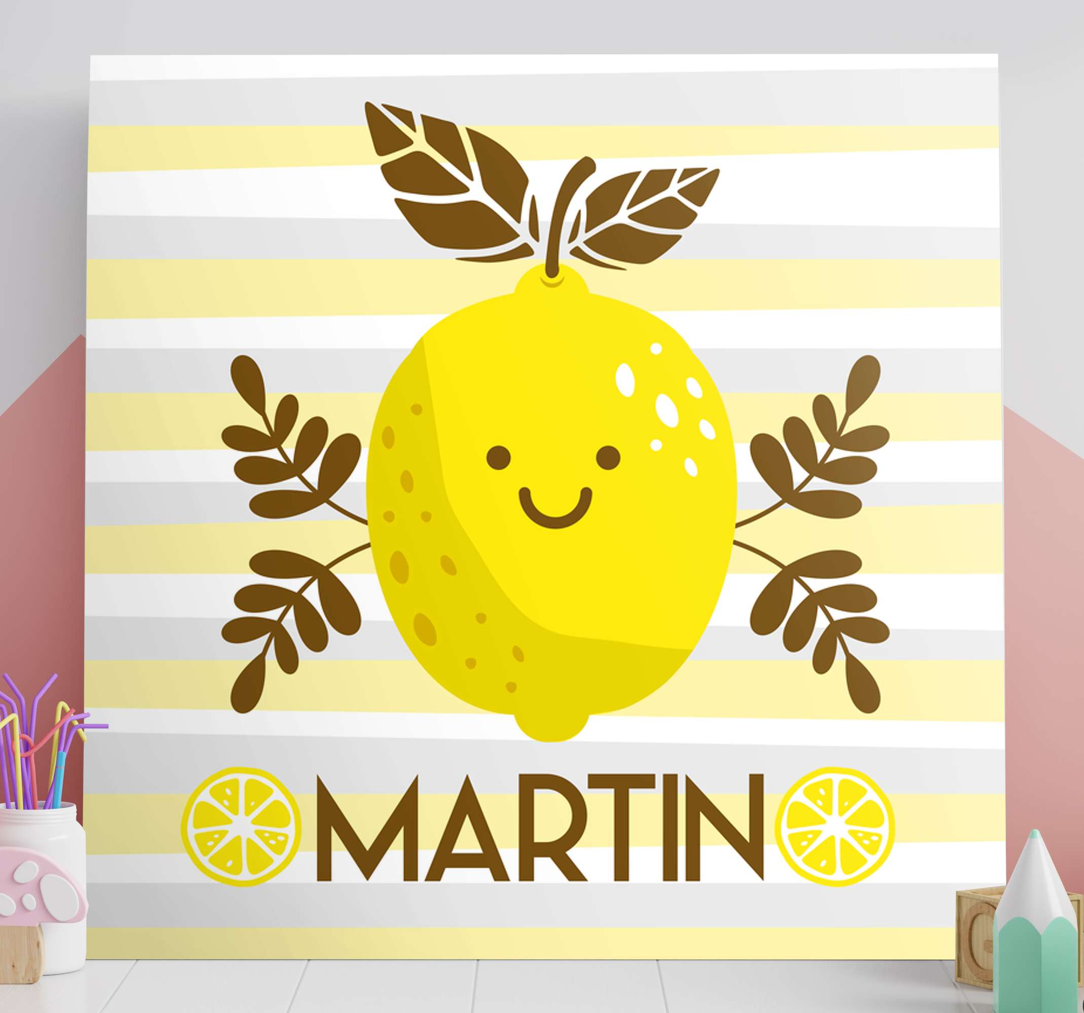 TenStickers. smiling lemons customisable canvas prints. Refreshing and fun personalised wall canvas! It represents a smiling lemon with your chosen name/word underneath! Order now and have it delivered!
