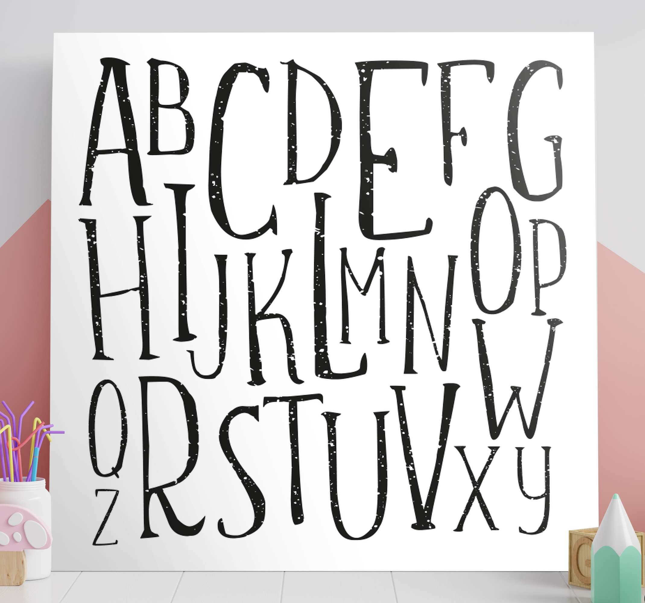 TenStickers. Alphabet letters Letter Canvas wall art. Alphabet letters canvas print - This can be decorated on children space, playroom, nursery, etc. It is printed in quality finish and it does not fade.