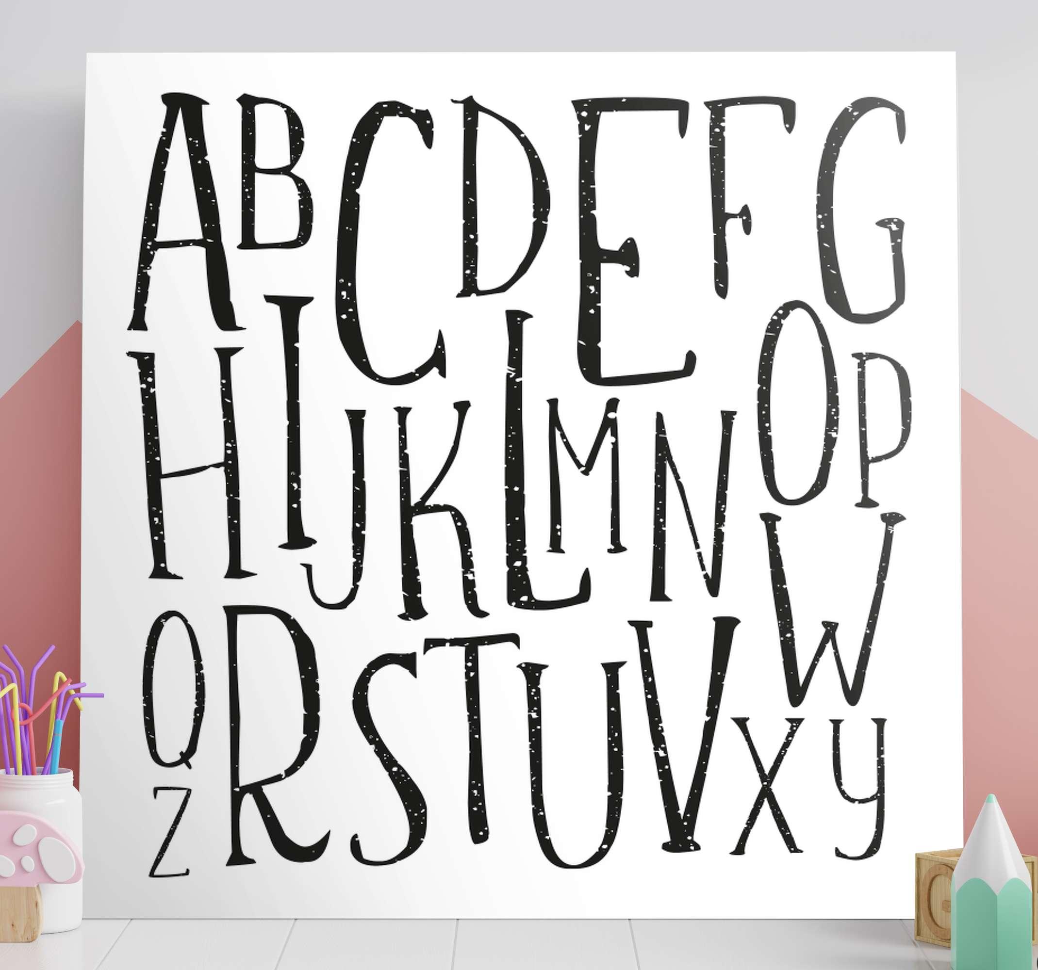 TenStickers. 字母信帆布墙艺术. 字母帆布打印-可以在儿童空间,游戏室,托儿所等地方装饰。它以高质量的面漆印刷,并且不会褪色。