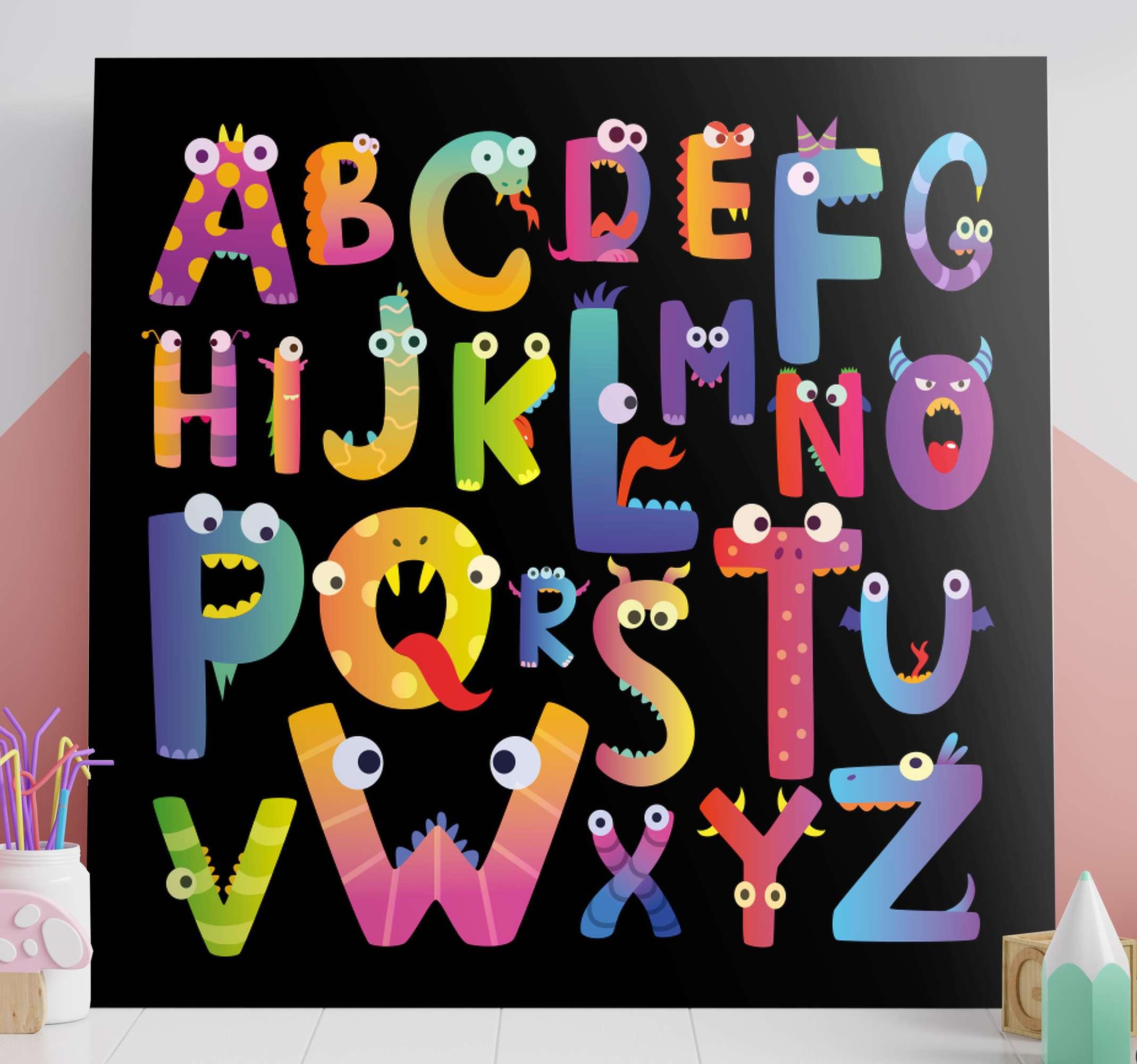 Tenstickers. Barns alfabetbokstav duk väggkonst. Färgglada barn alfabet duk med funky illustrationer - detta kan dekoreras i hemmet, barnkammare utrymme för både hem och utomhus.