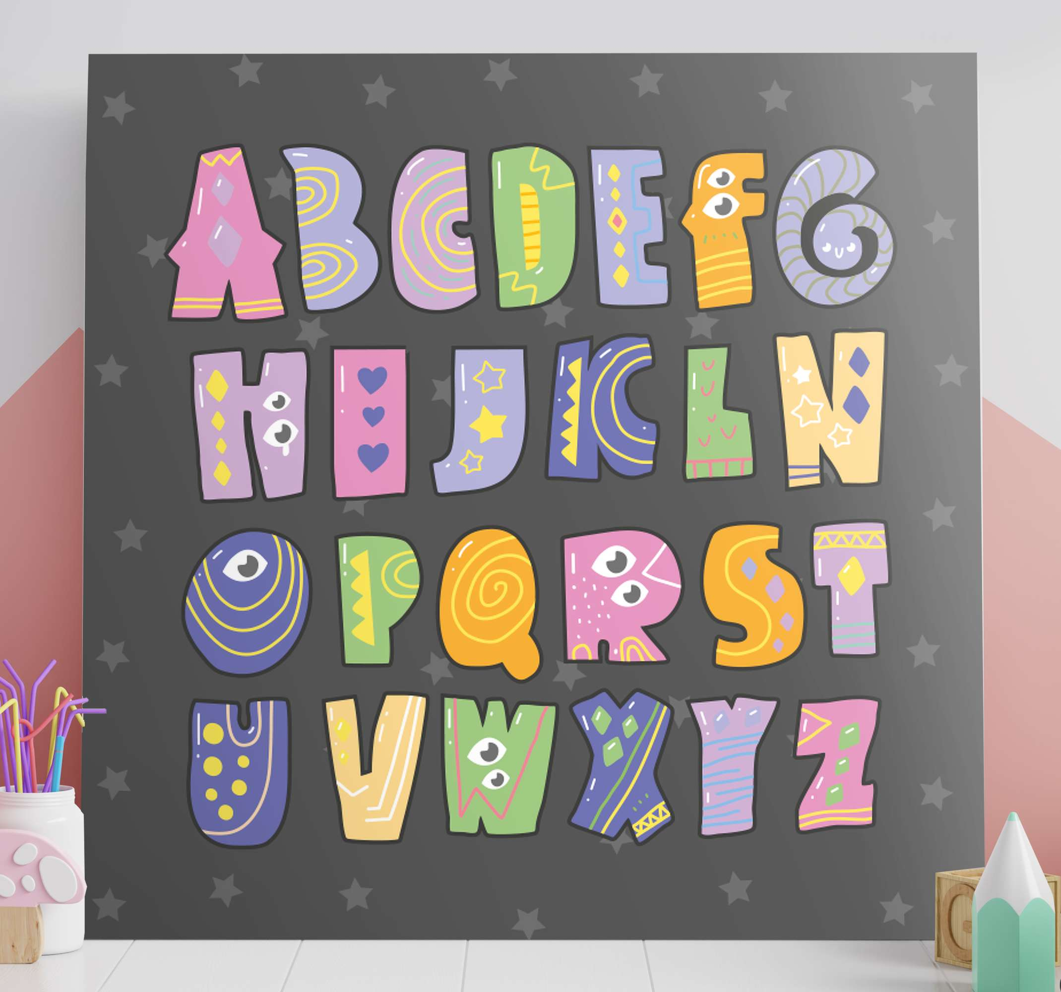 TenStickers. coloured alphabet  Letter Canvas wall art. Here we have for you a special design of nursery canvas art that will beautify your childrens' room. add it to your cart.