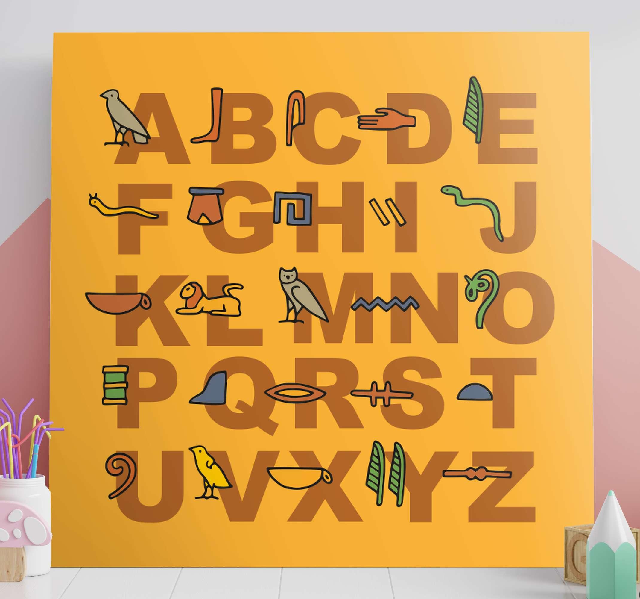 TenStickers. 埃及字母帆布墙艺术. 在这里,我们有一个报价画布艺术墙,它在橙色背景上描绘了埃及字母。立即将其添加到购物车!
