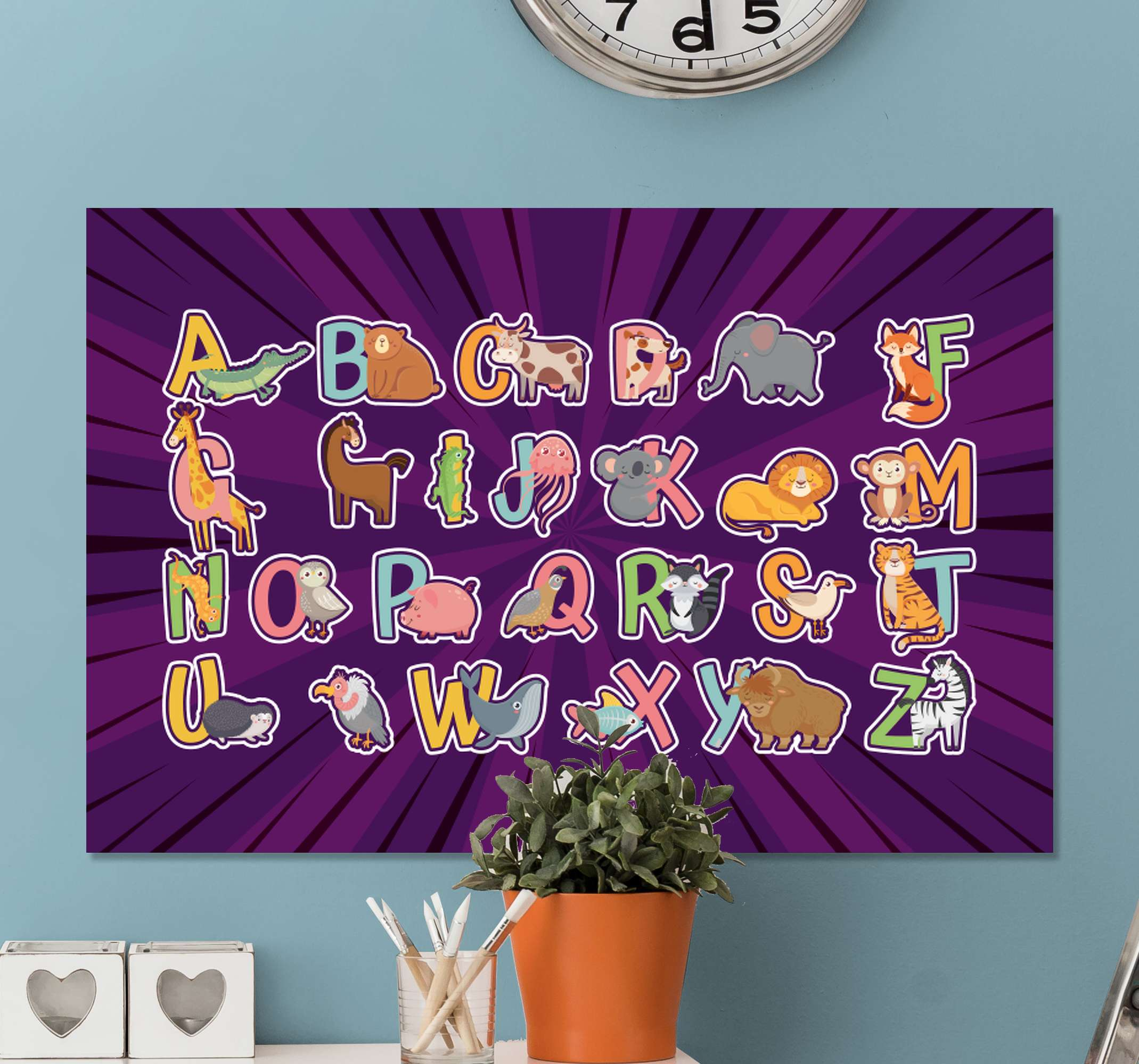 TenStickers. Animals English alphabet for kids Letter Canvas wall art. Alphabet and letter canvas prints for children. Very lovely educative canvas with animals illustrated with letters in colorful manner.