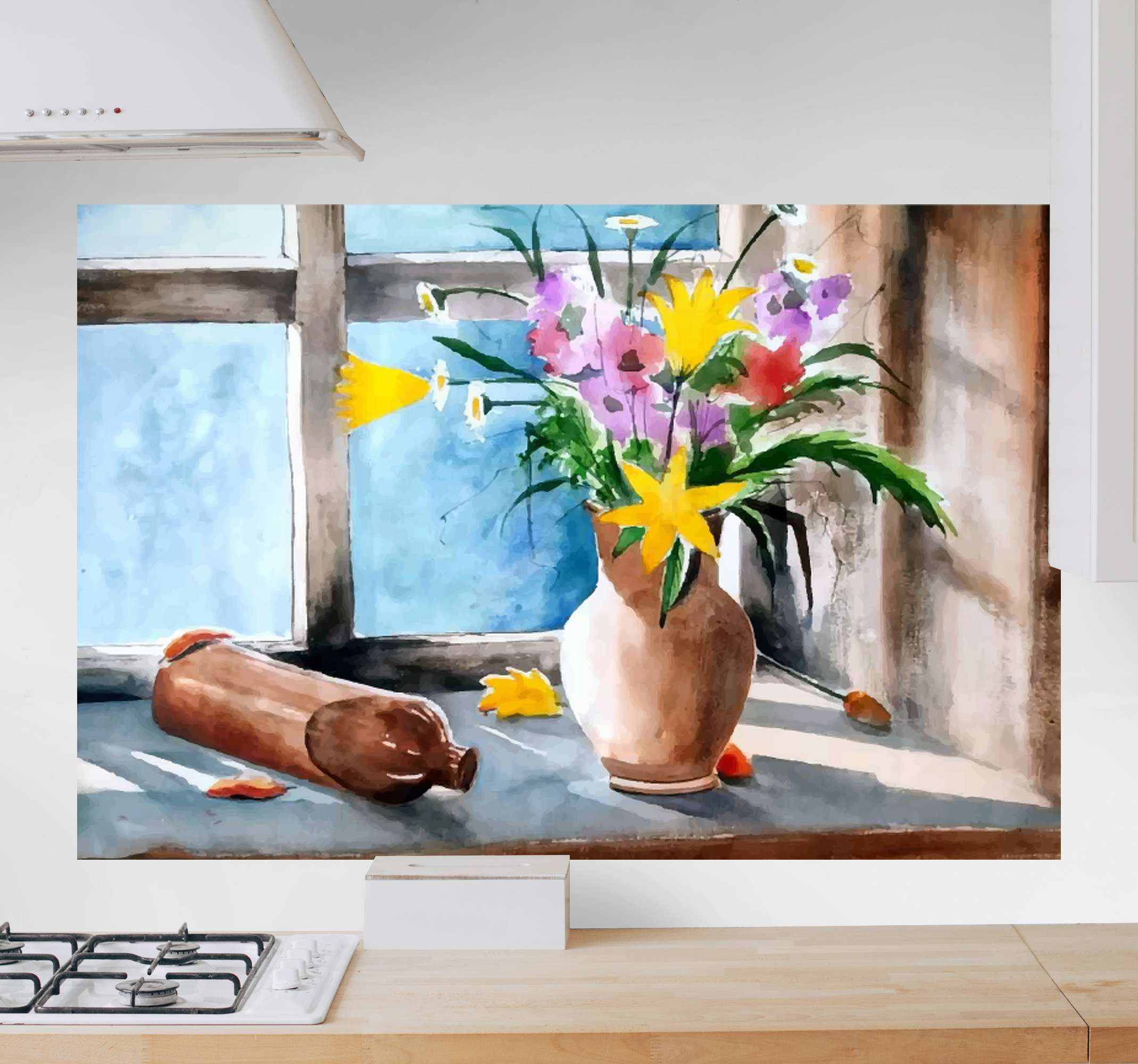 TenStickers. Vintage kitchen plants canvas art. Vintage kitchen plants wall print with deign of flower vase on window side- Lovely canvas for living kitchen, it can be decorated on any other space.