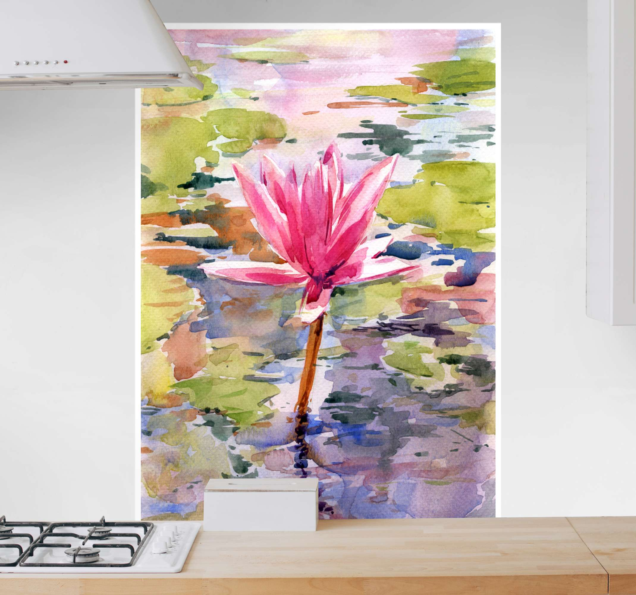 TenStickers. Abstract watercolour flower canvas print. Amazing design of a flower canvas print inspired by watercolour panting of a pink flower blooming on a lake. Choose your size!