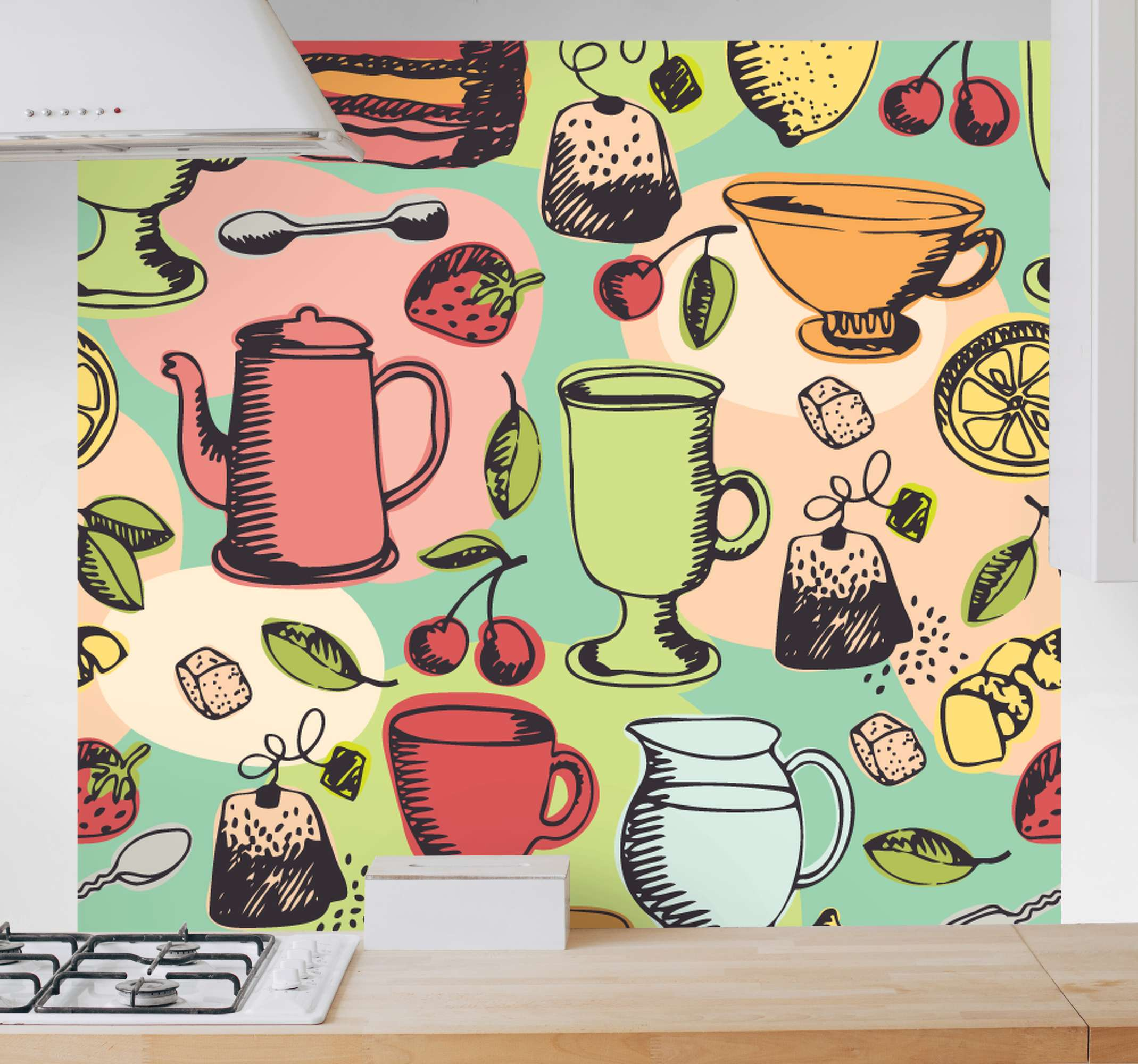 TenStickers. Food theme Kitchen canvas art. Food theme kitchen wall print to decorate your kitchen space. It contains design of different tea jugs, kettles, drinking cups, fruits, tea bags, etc.