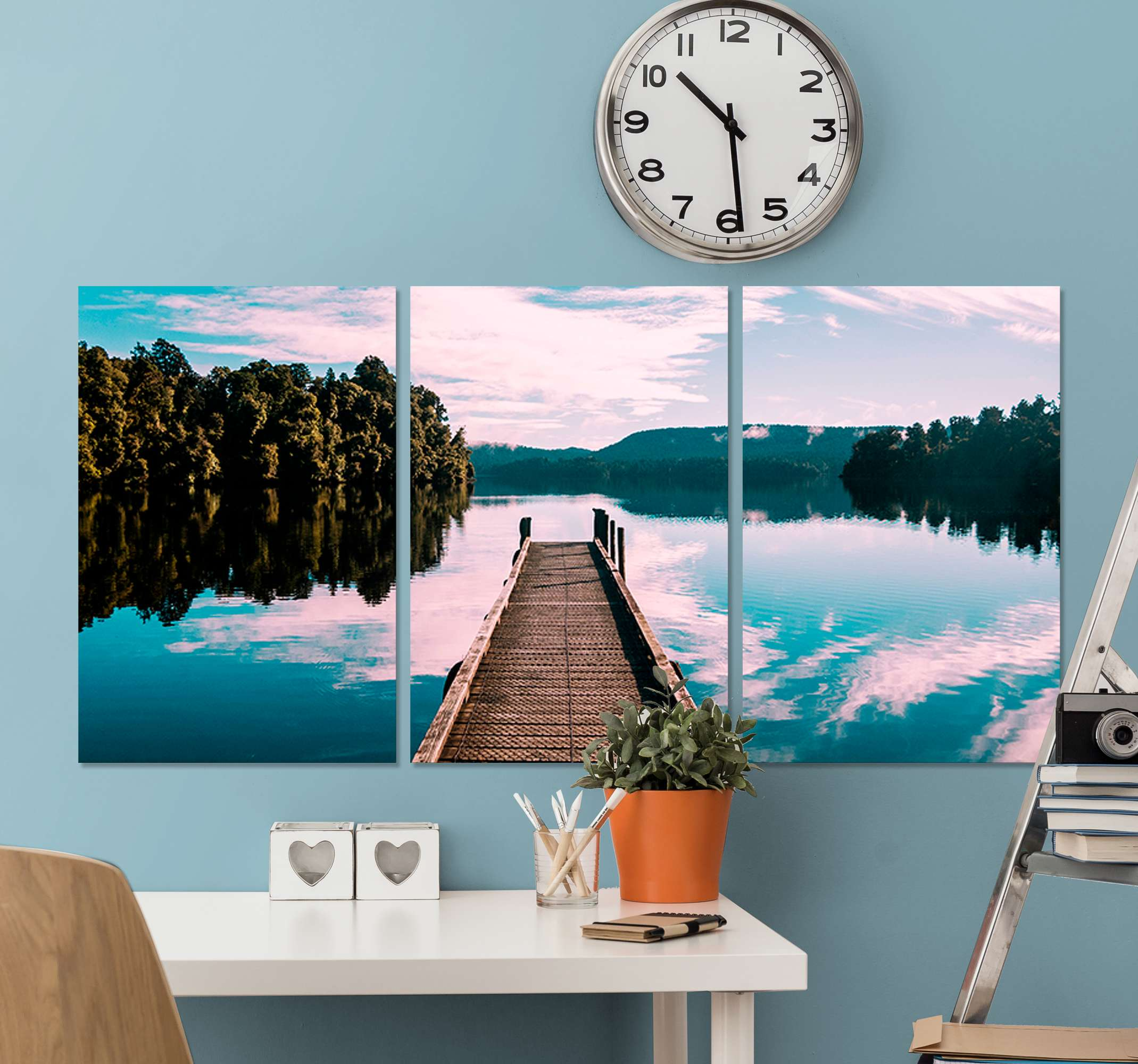 TenStickers. Nature with trees and lake bedroom canvas print. Beautiful bedroom canvas print with a beautiful lake and trees! It will make relaxation easier! Have it delivered straight to your home by us!