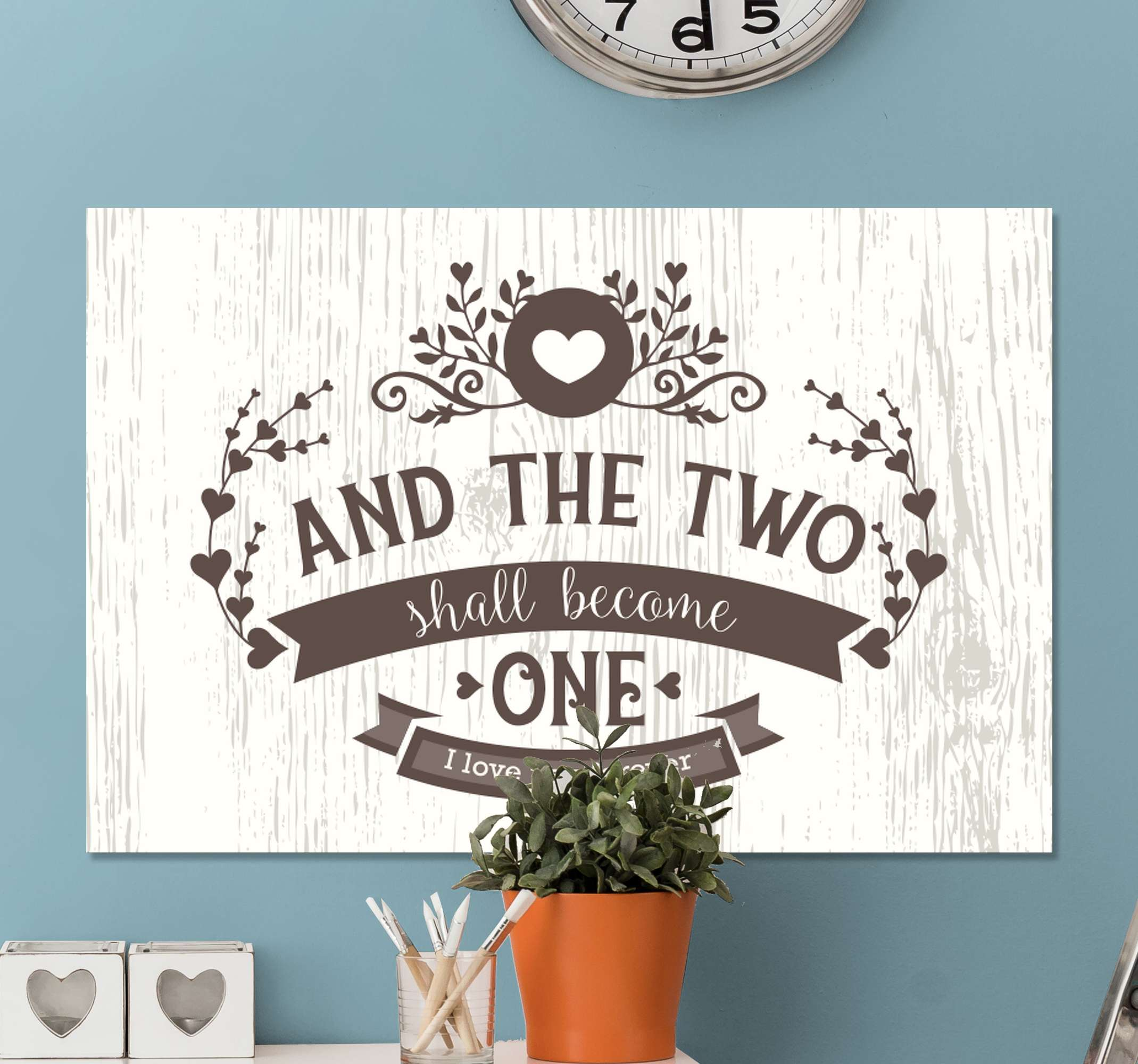 TenStickers. Vintage bedroom quote canvas art. Our vintage bedroom marriage quote canvas art got you covered for your matrimonial bedroom space. It text reads ''And the two shall become one''.