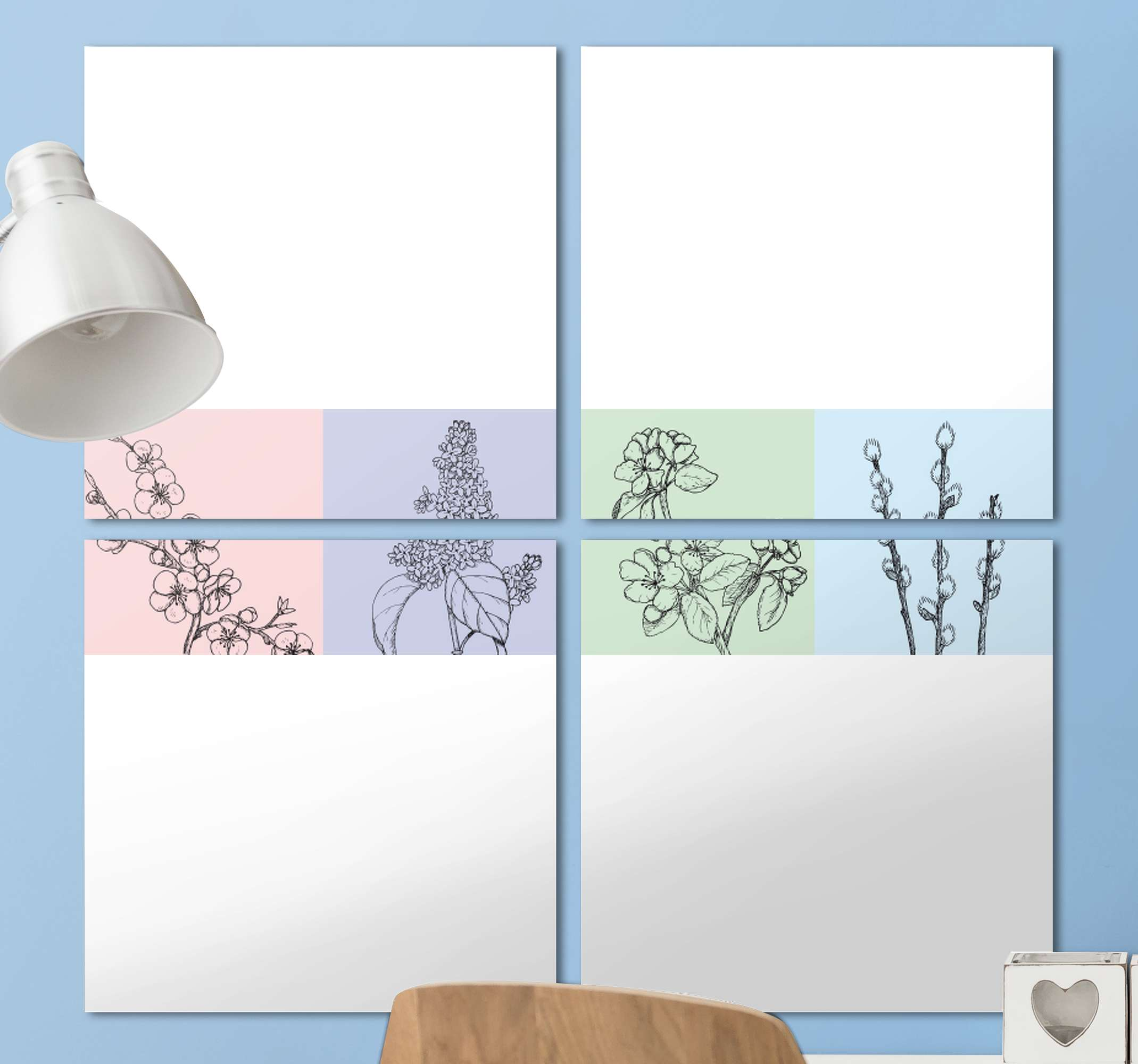 TenStickers. bedroom multi colour flower canvas print. Beautiful and subtle design of a flower canvas print with four flower plants separated into four continuous parts with pastel background. Order today!