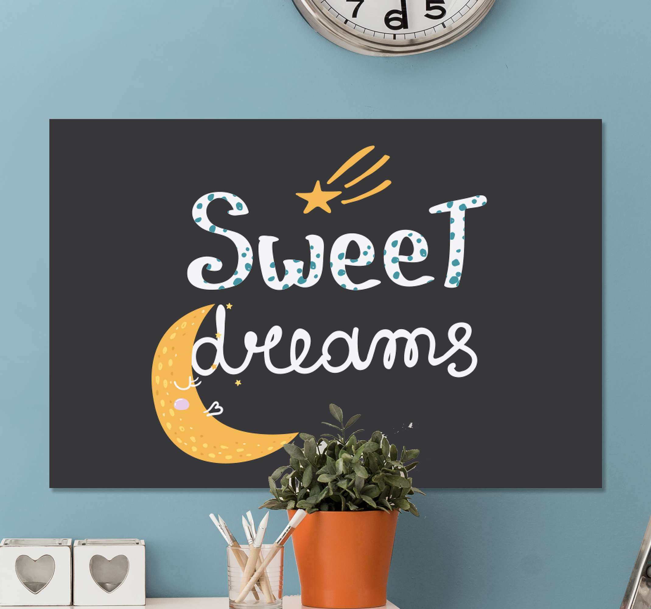 "TenStickers. sweet dreams bedroom canvas art. Quote print with the text ""Sweet dreams"" and the illustration of a crescent moon and a star to your room with a calm atmosphere perfect for sleeping."