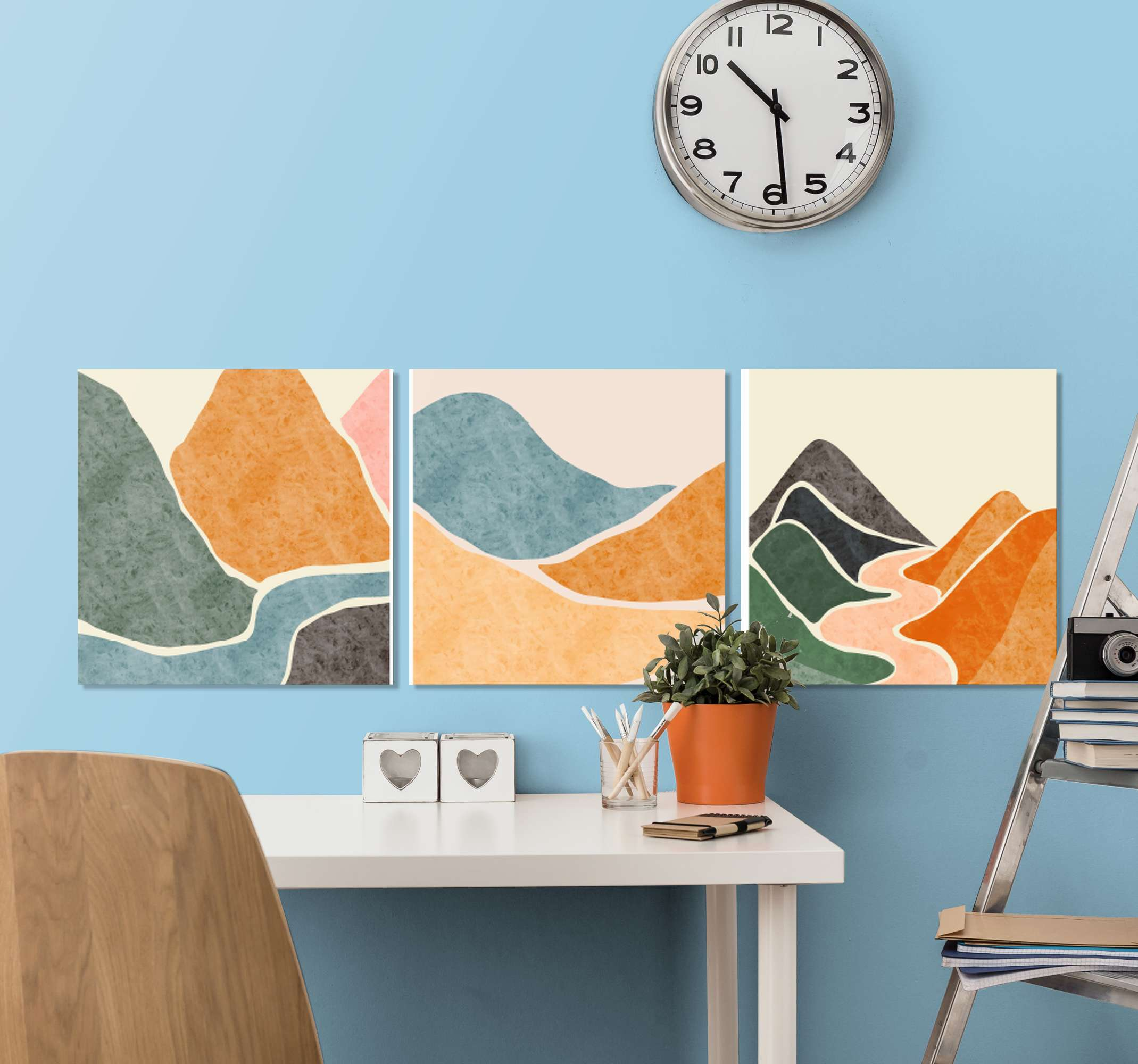 TenStickers. pintura moderna abstract living room canvas print. This particular design is made of abstract mountains in different colours and a river and sandy surface with clean white background on three pieces!