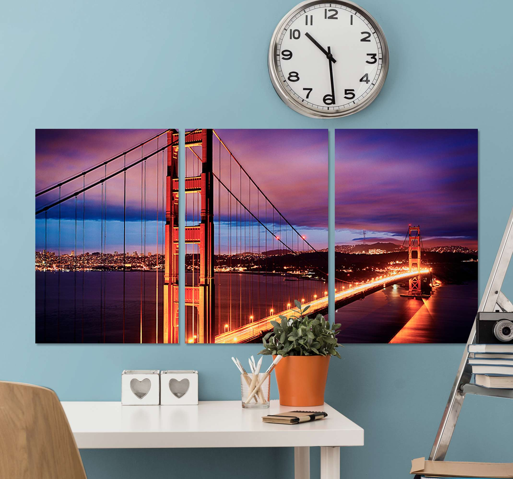 TenStickers. San Francisco bridge wall prints for living room. Imagine watching the view of San Francisco's bridge  everyday on your space just from this cityscape picture canvas wall art.