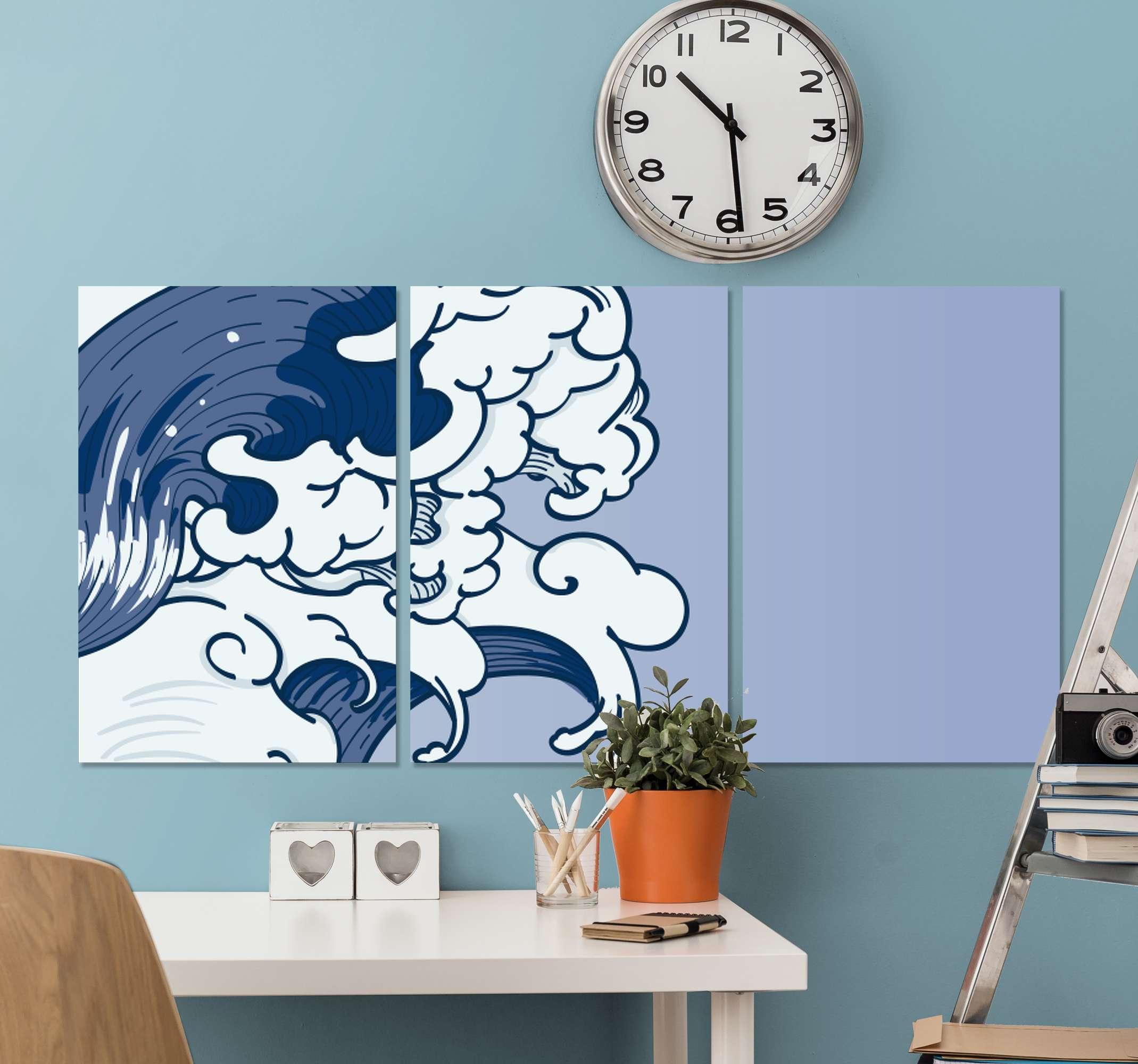 TenStickers. 哦,神奈川客厅的壁画. 神奈川帆布画艺术为您的家居装饰。这三幅家用画布艺术设计说明了神奈川县的象征性巨潮。