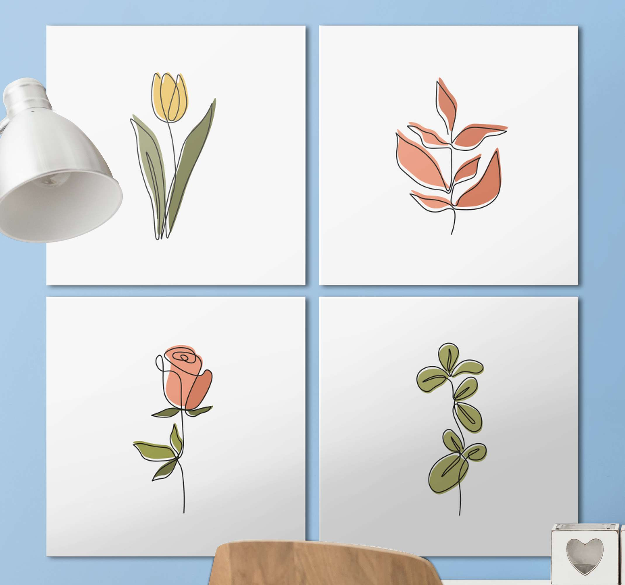 TenStickers. Minimalist flowers Hall canvas prints. Enjoy your home or office space with our original high quality finish printed sets of minimal flower canvas print. Easy to hang and it does not fade.