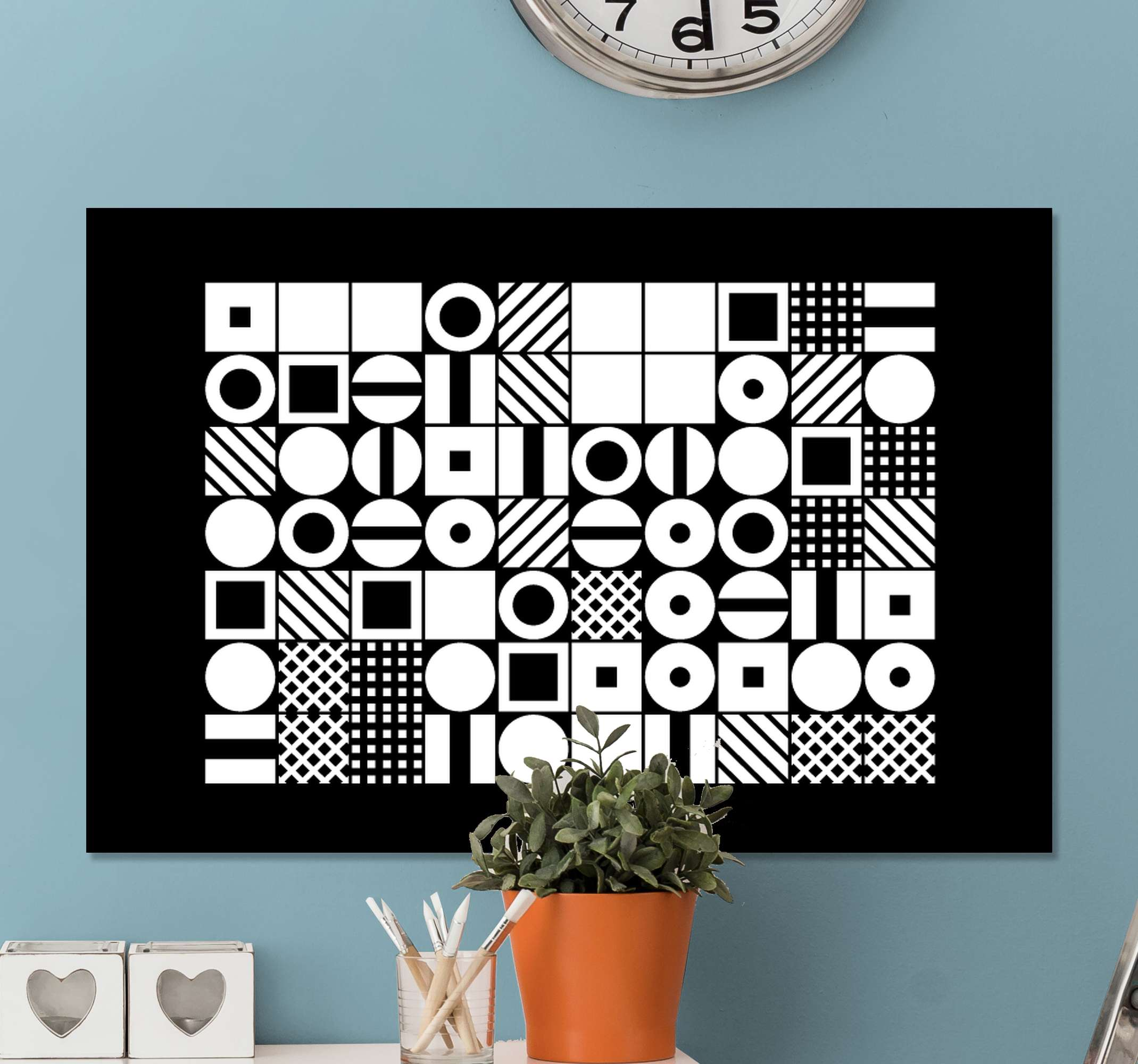 TenStickers. Black and white geometries office canvas art. A modern canvas art print for lovers of abstract figure illustrations. This canvas is lovely and would decorate your space with a touch of art.