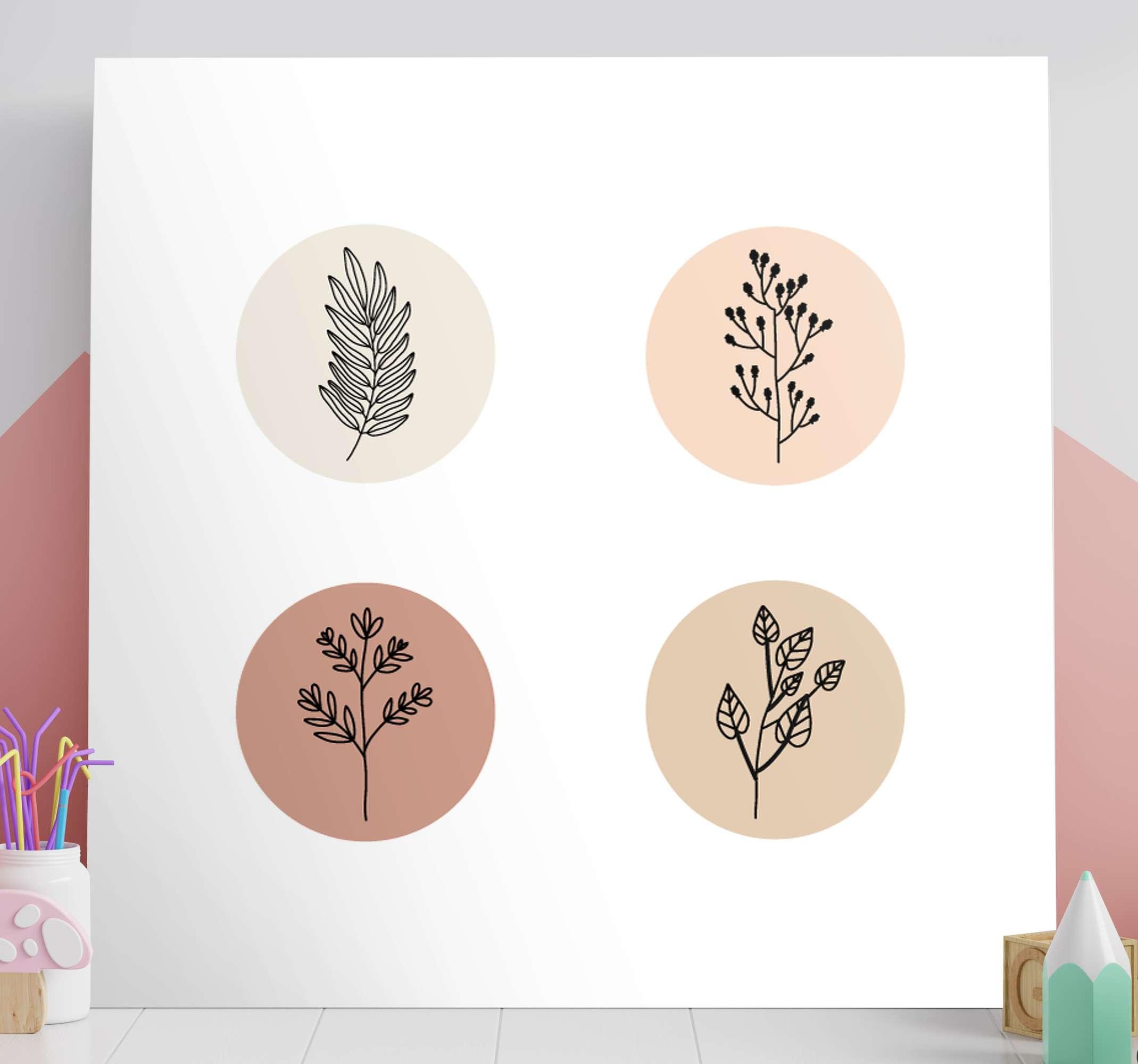 TenStickers. Canvas schilder ingang Minimalistische bloemen. Minimalistische bloemen canvas schilderij om de uitstraling van elke ruimte met een luxe tintje te verbeteren. Bestel hem nu!