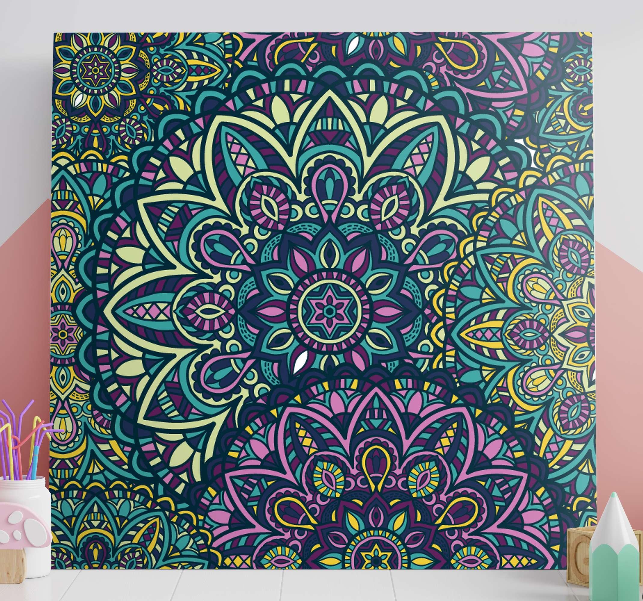 TenStickers. Canvas schilder ingang Mandala. Decoratieve mandala canvas schilderij voor inkomhal, lounge, woonkamer, logeerkamer, kantoor en elke andere plaats die u wenst.