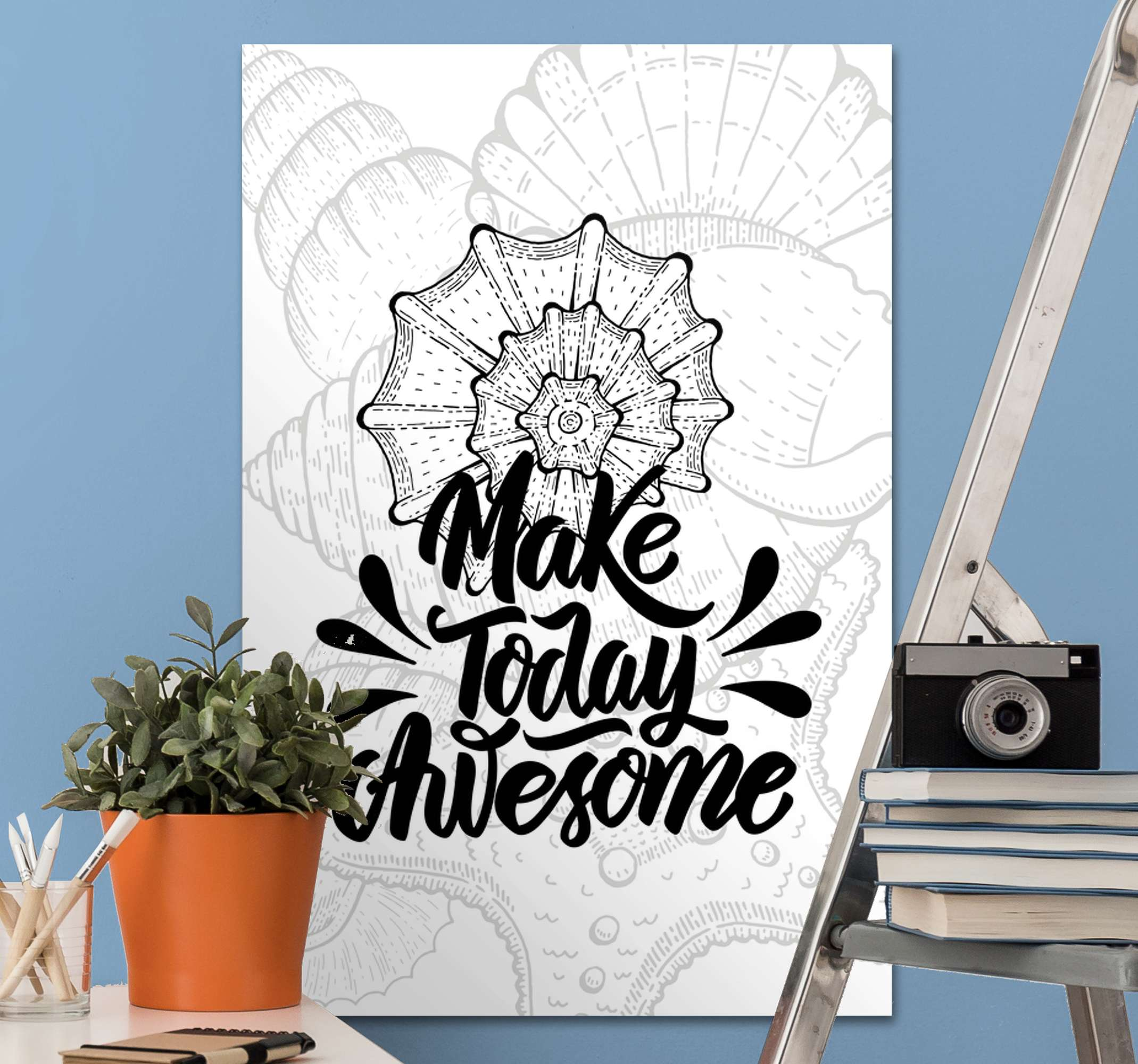 TenStickers. Marine life and seashells inspirational canvas. Beautiful sea life wall canvas print with motivation text. The canvas design illustrates seashells and accompanied with the text 'Make today awesome'.