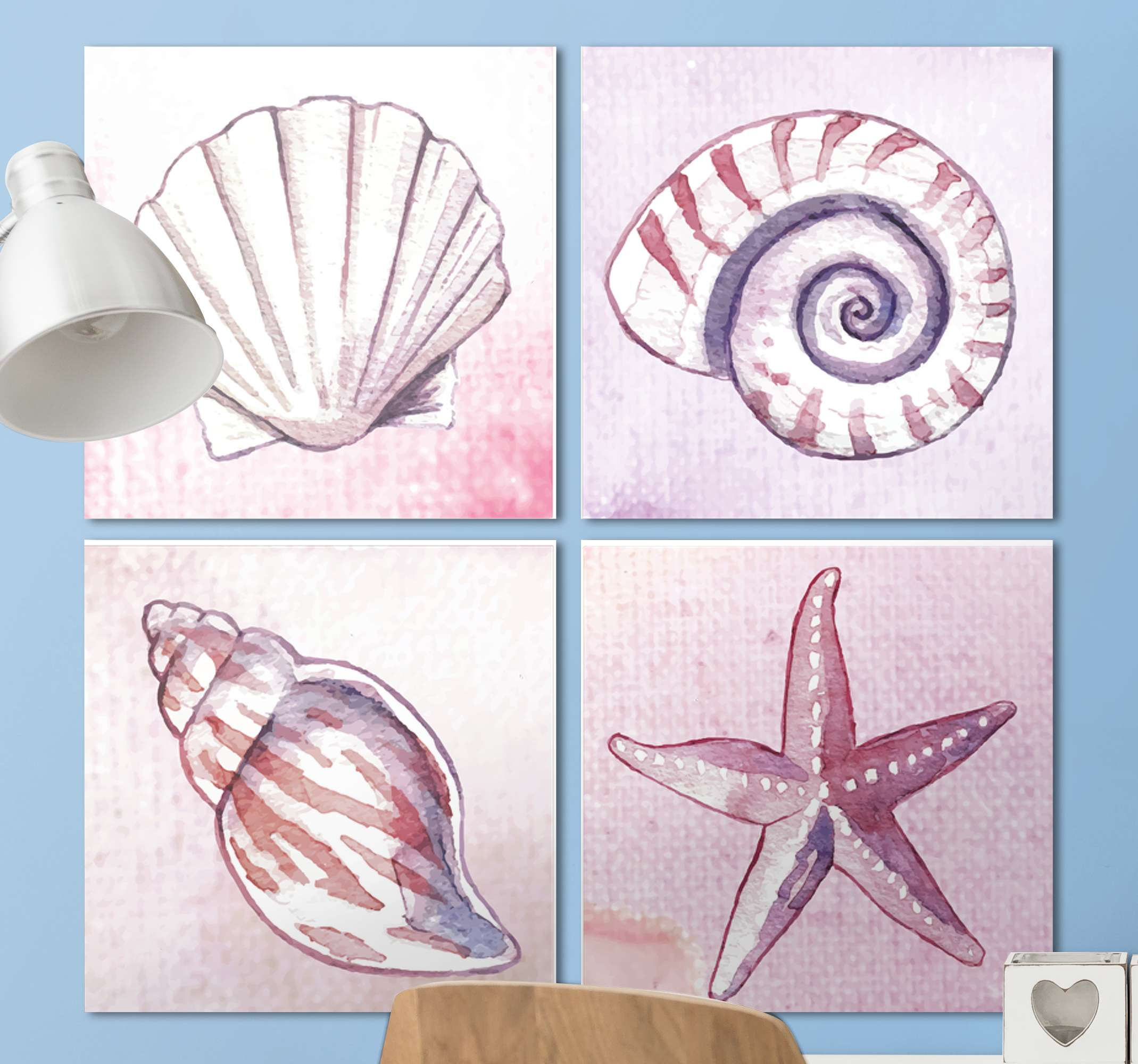 TenStickers. COMBO Sea life canvas wall art. Lovely sets of sea life canvas art with amazing artistic display of four different undersea animals. Easy to hang, original and durable.