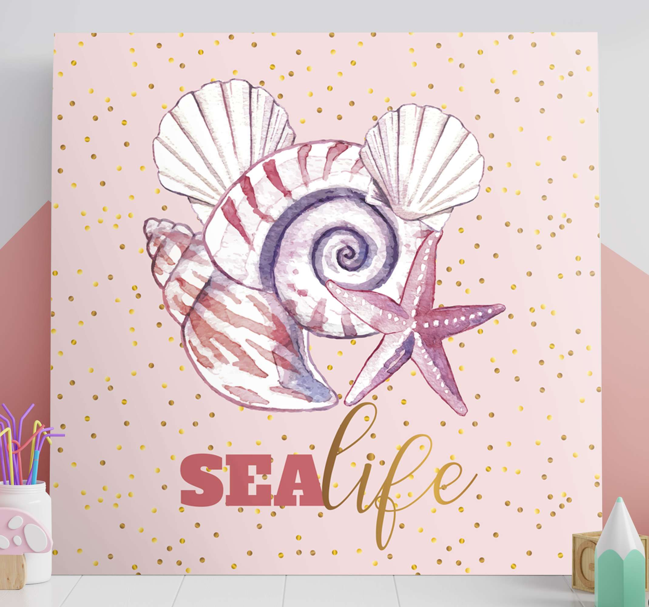 TenStickers. Sea life with text Sea life canvas wall art. Lovely sea life canvas art containing design of snail, starfish, oyster and more with the name ''Sea life'.  Made of quality and durable.