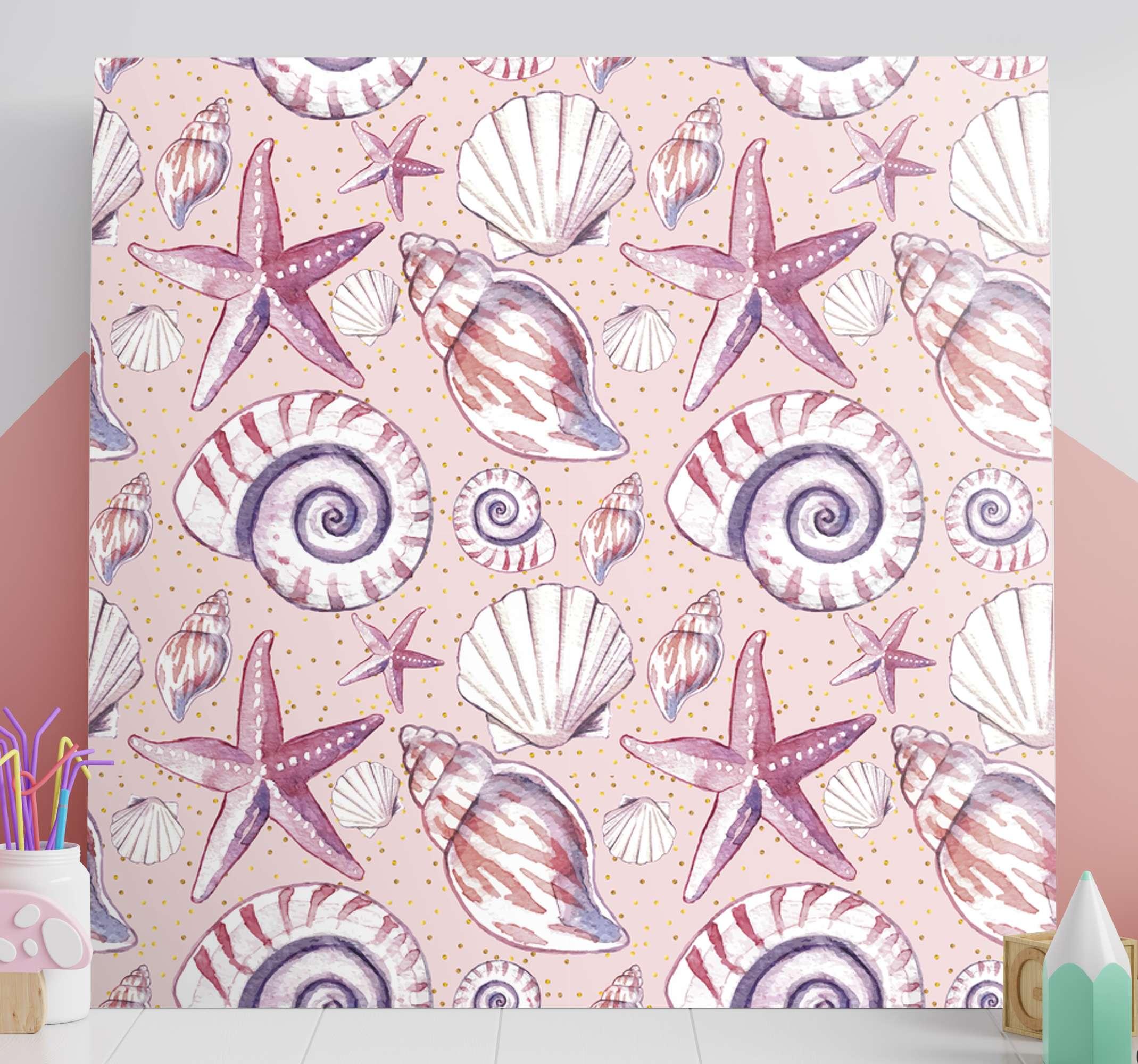 TenStickers. 바다 생활 바다 생활 캔버스 벽 예술. 바다 생활 바다 생활 캔버스 인쇄-매우 사랑스럽고 진정으로 공간의 모습을 향상시킵니다. 달팽이, 굴, 불가사리 등의 디자인이 포함되어 있습니다.