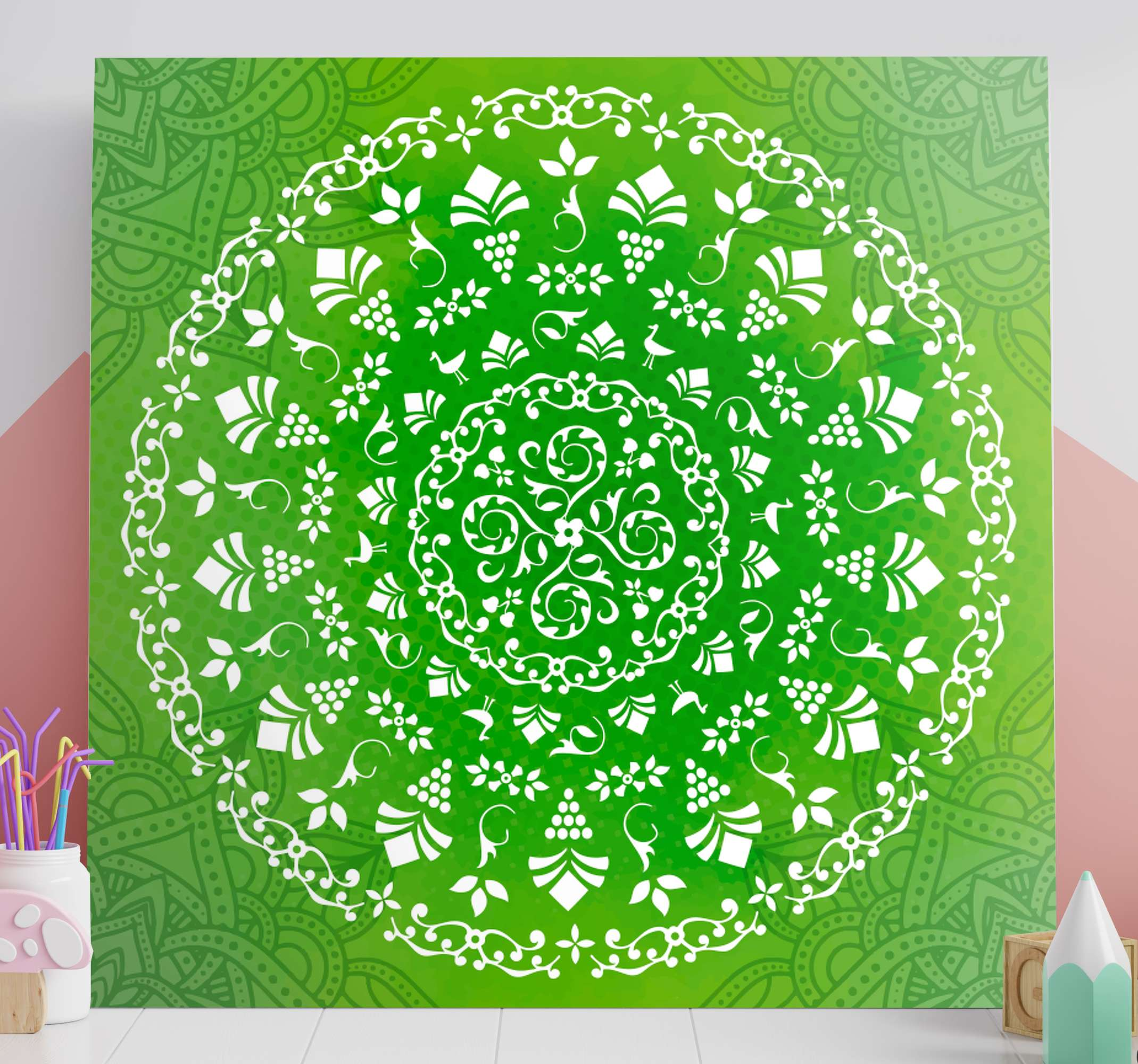 TenStickers. Green ornamental round mandala print wall art. Green ornamental round mandala canvas art - Prefect to enhance the look on any space! The quality is good, printed in quality finish and fade proof.