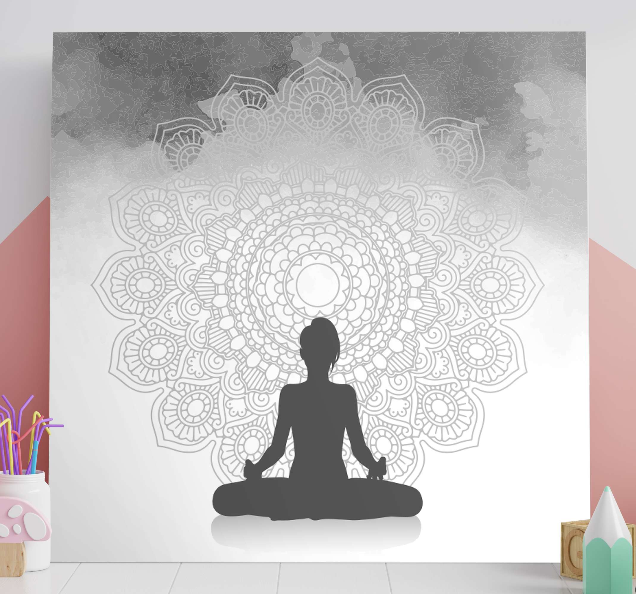 TenStickers. Silhouette meditation mandala print wall art. Silhouette meditation mandala canvas art to decorate your meditation room and other spaces. Made of quality material and durable.