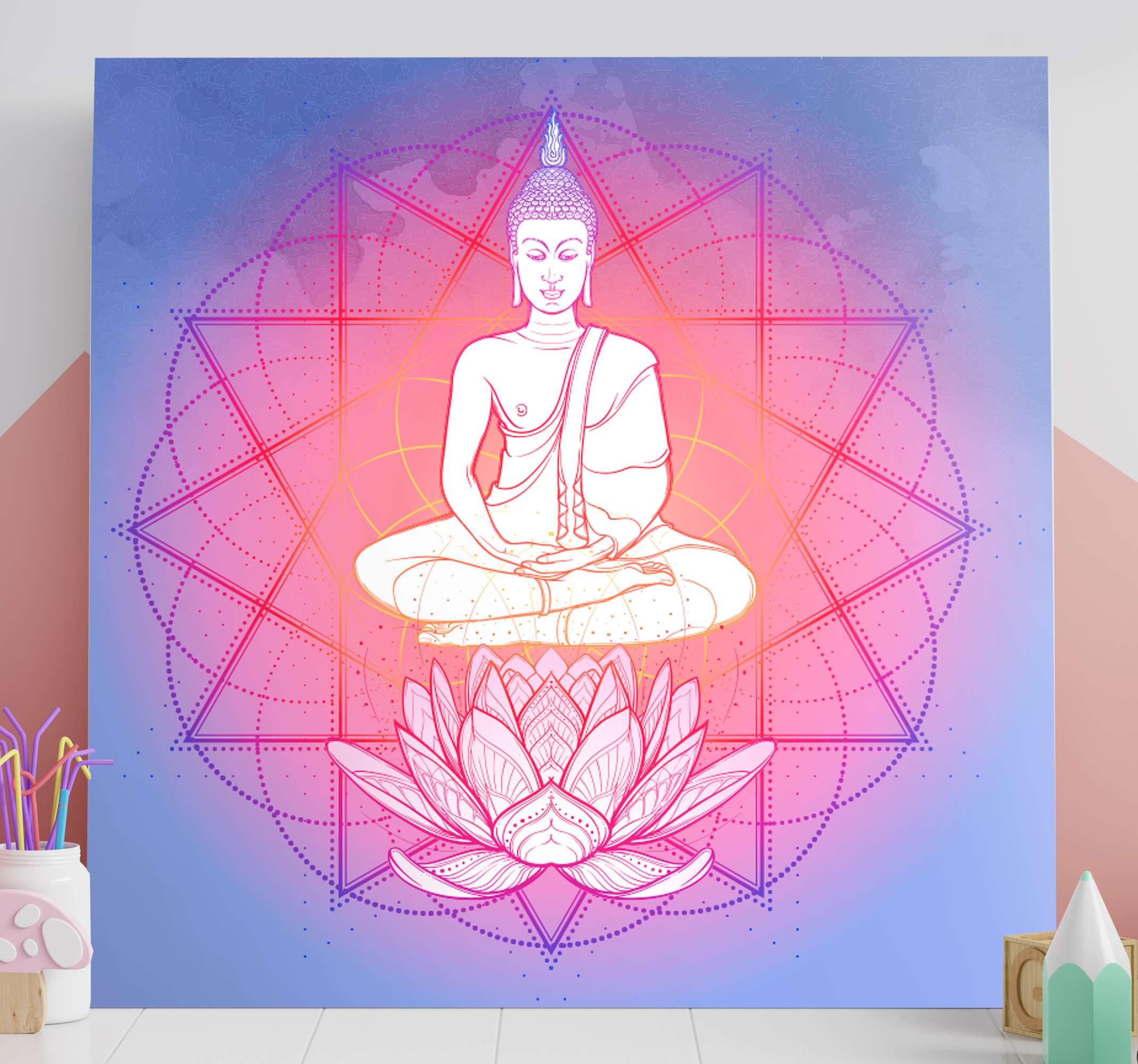 TenStickers. Quadro mandala Mandala buda meditando. Buda meditando arte em tela de mandala - pode ser decorada em um espaço ou sala de meditação. Feito de material de qualidade e duradouro.
