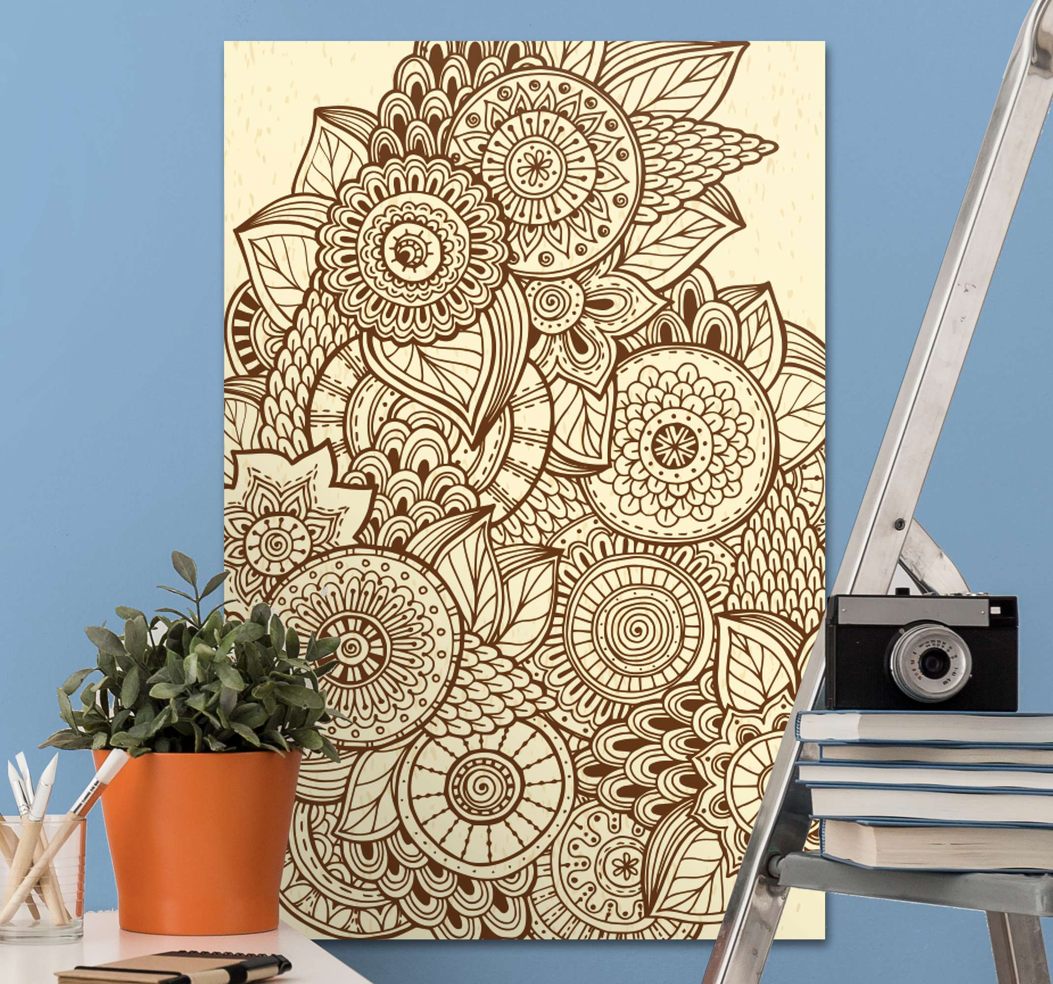 TenStickers. Mandala geometric pattern mandala print wall art. If you love mandalas and also a fan of vintage then you should have this retro mandala canvas art as part of your home decor collection.