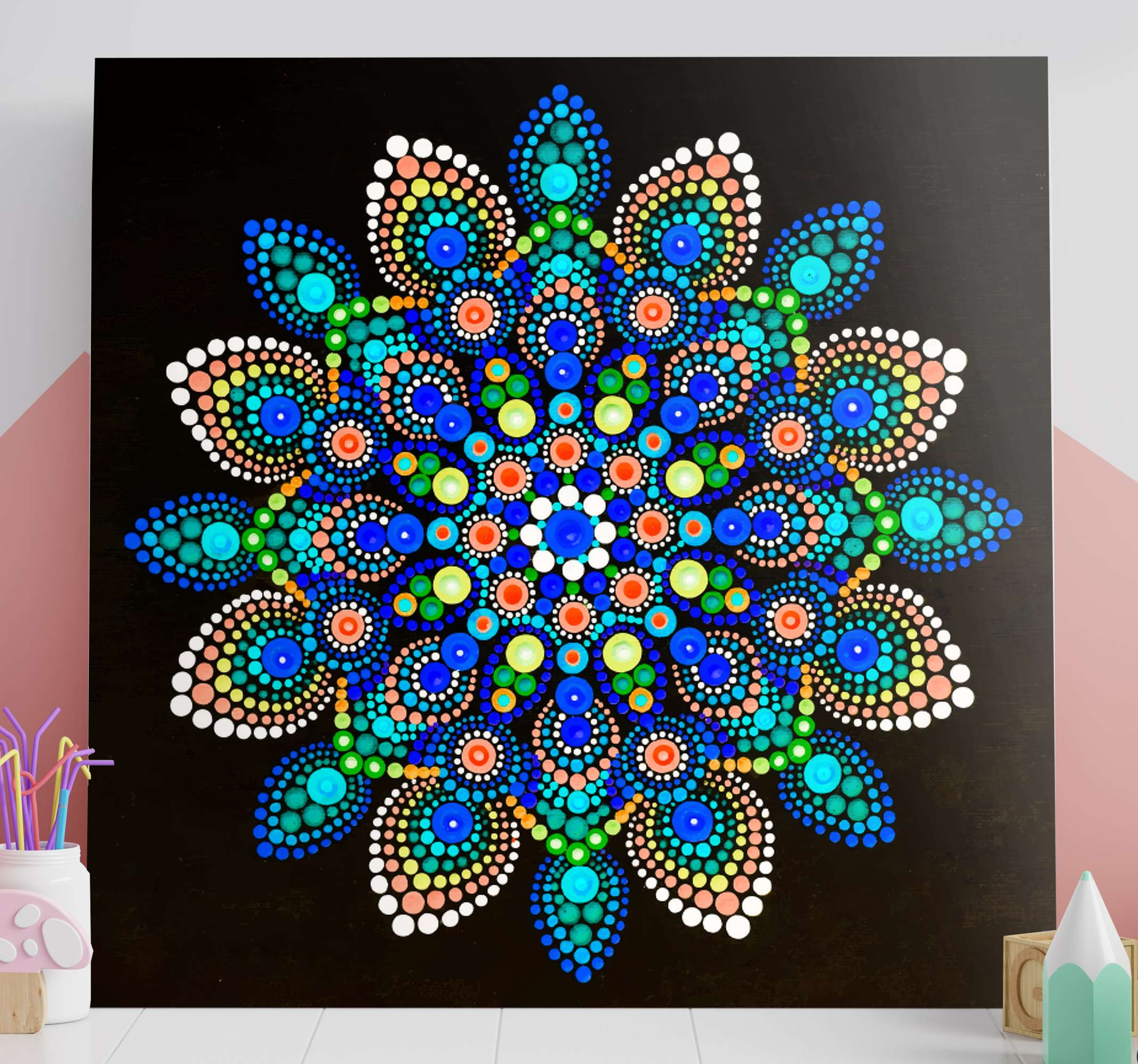 TenStickers. Mandala colourful dots mandala print wall art. Mandala colorful dots mandala canvas wall art - This is one piece you should have on your space without thinking about it twice.