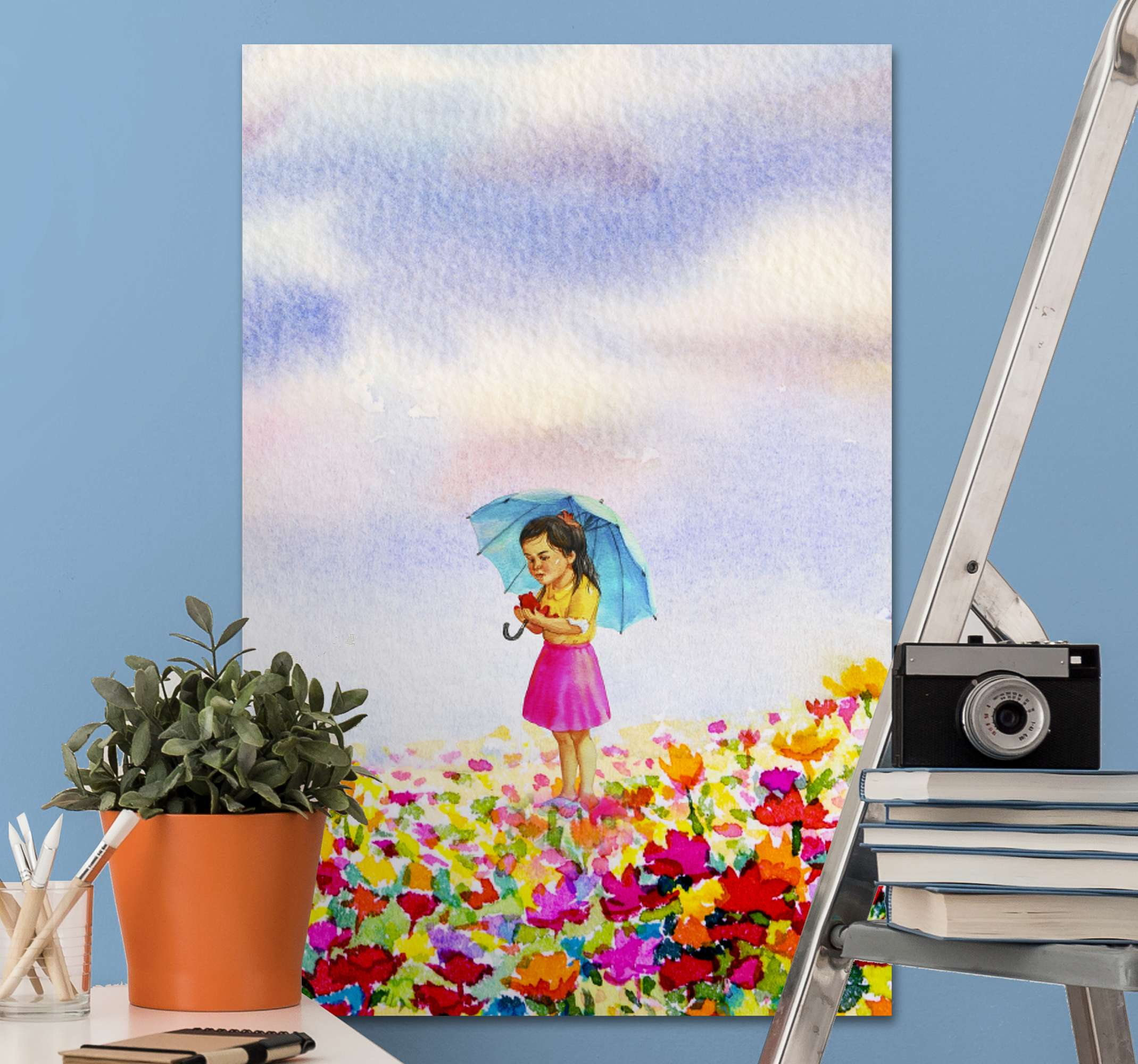 TenStickers. Under one umbrella canvas art. Wall art print with illustration of a woman in a garden of flowers with a blue sky and a blue umbrella, this design is great to use in your home.