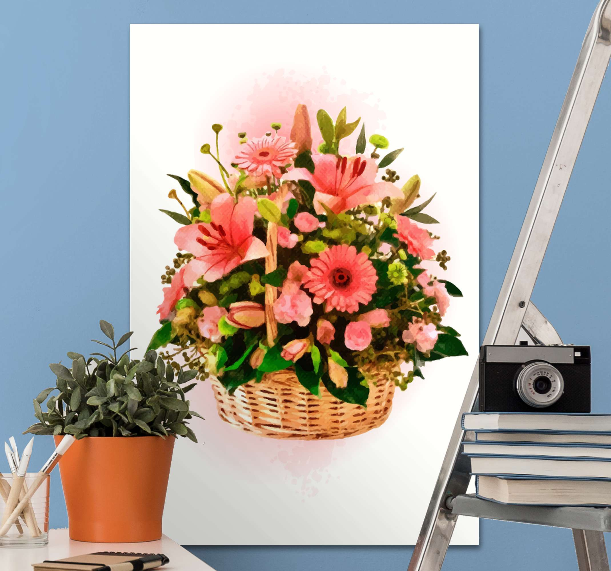 TenStickers. Blooming basket floral canvas. Flower canvas wall art with the illustration of a basket of pink flowers that will fill your home decor with a natural and original atmosphere.