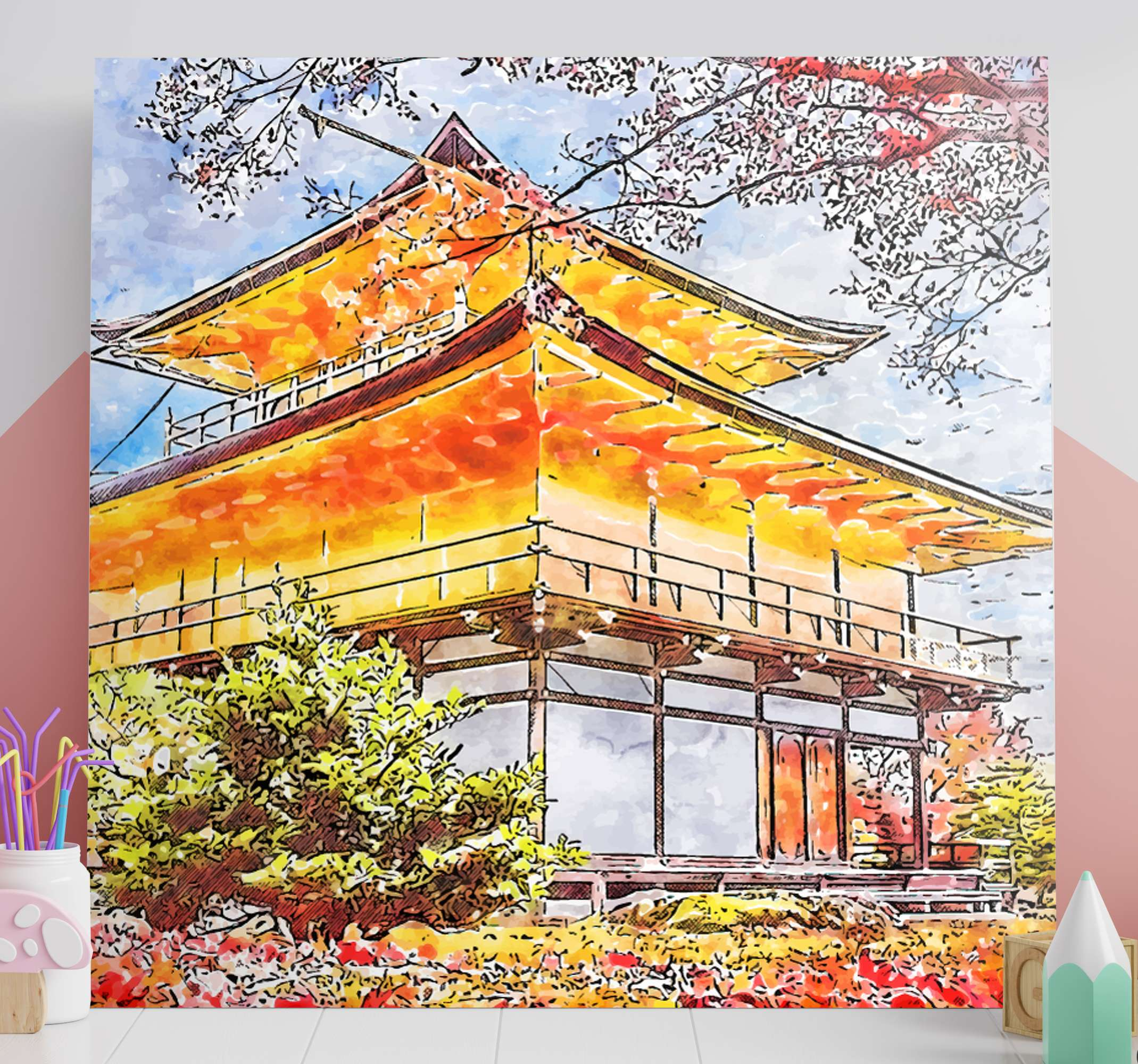 TenStickers. Japanese blooming trees City skyline prints. Country canvas with the illustration of Japanese blooming trees ideal for you to decorate the walls, it will bring a sense of peace to your home.