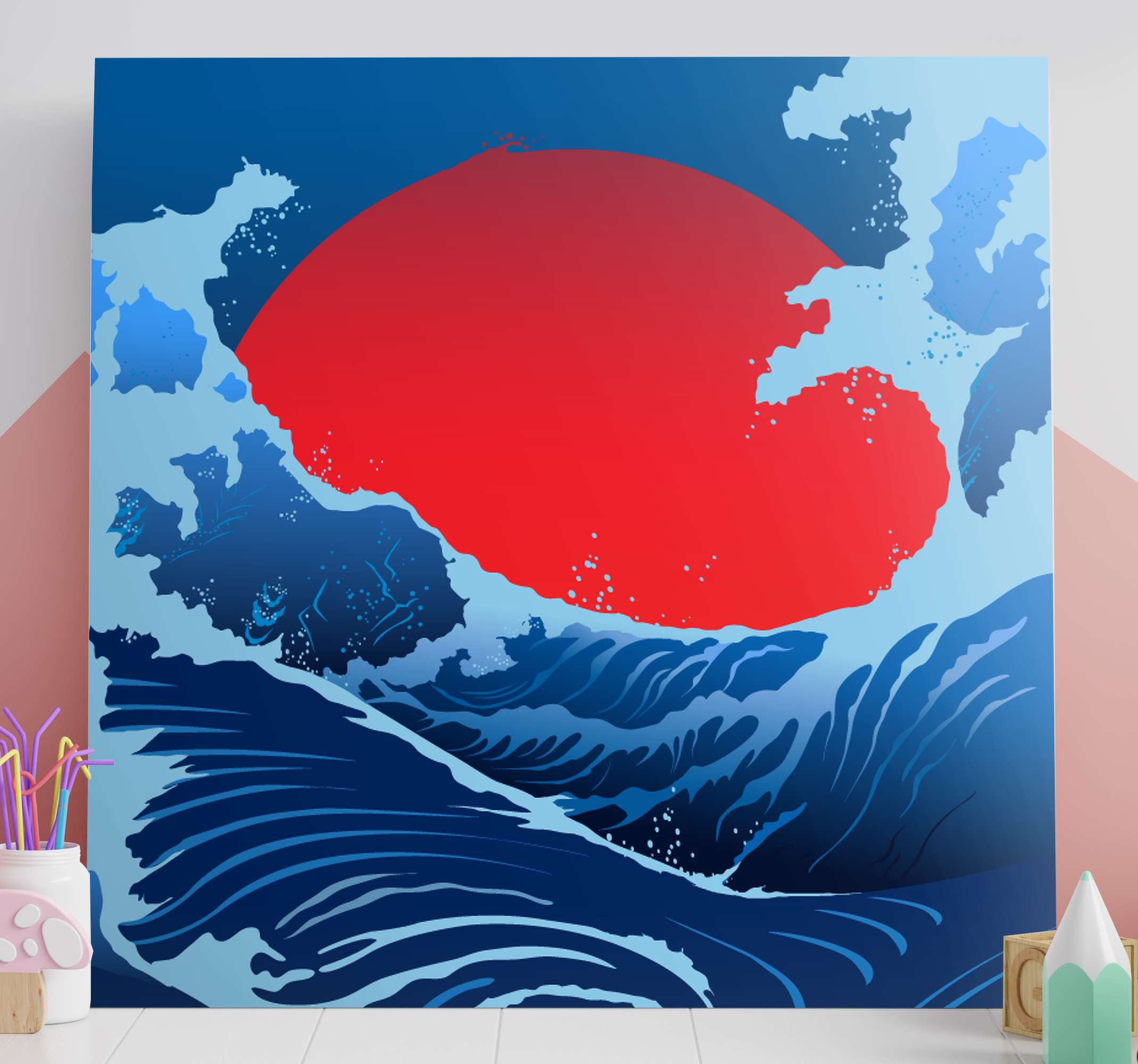 TenStickers. Ocean sunrise landscape wall art. Landscape canvas print with the illustration of a sea with large waves and a large sun in the background representing a beautiful sunrise.