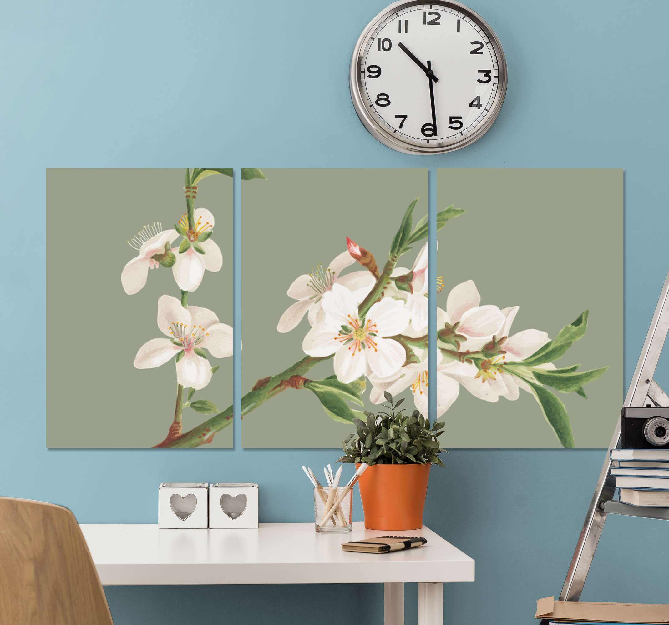TenStickers. Almond branches hallway wall art canvas. Very beautiful and colorful Almond branches home canvas wall art perfect for  everywhere you would like to have it!