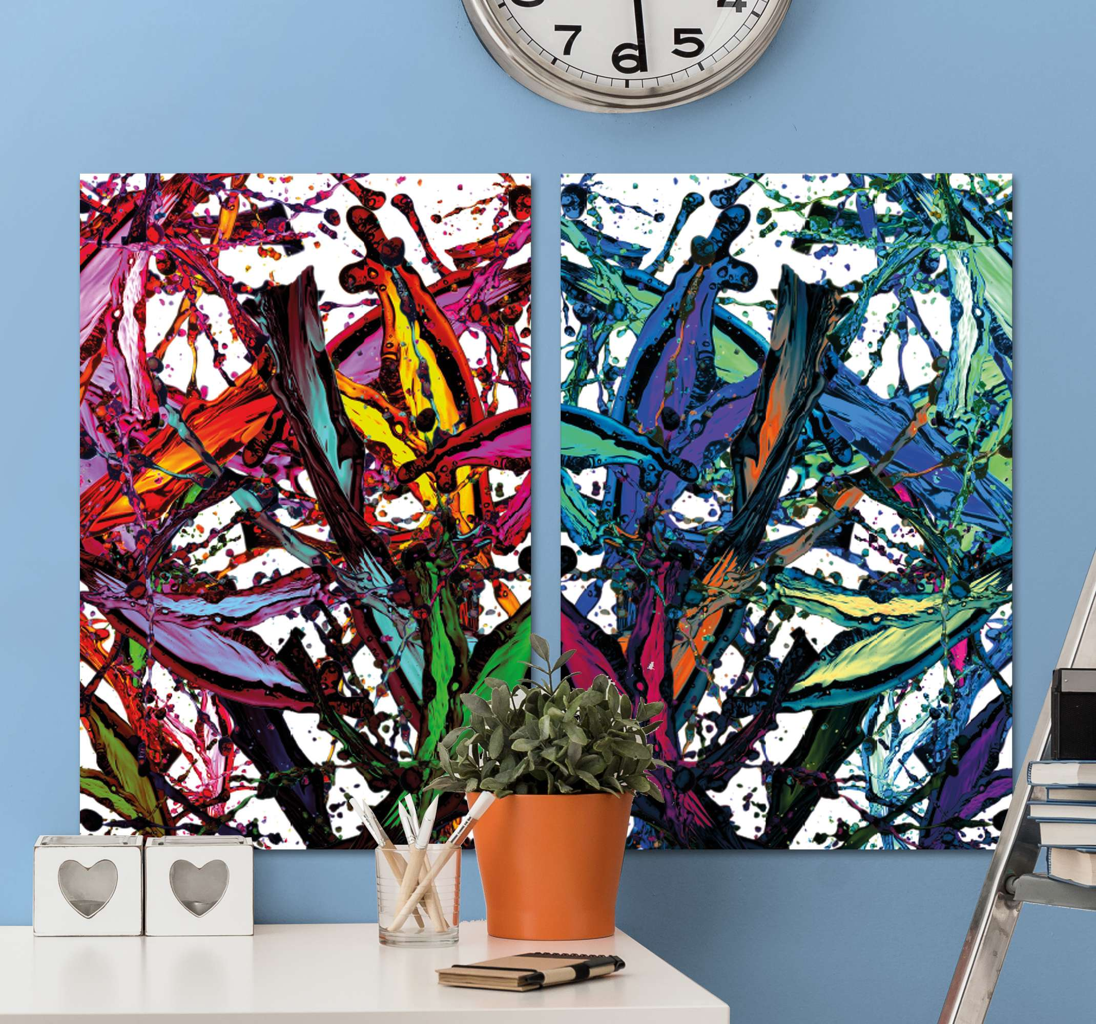 TenStickers. manchas de pintura hallway wall art canvas. Colorful modern abstract canva wall art that will perfectly decorate your home. If you are looking for an interesting accessory it is made for you.